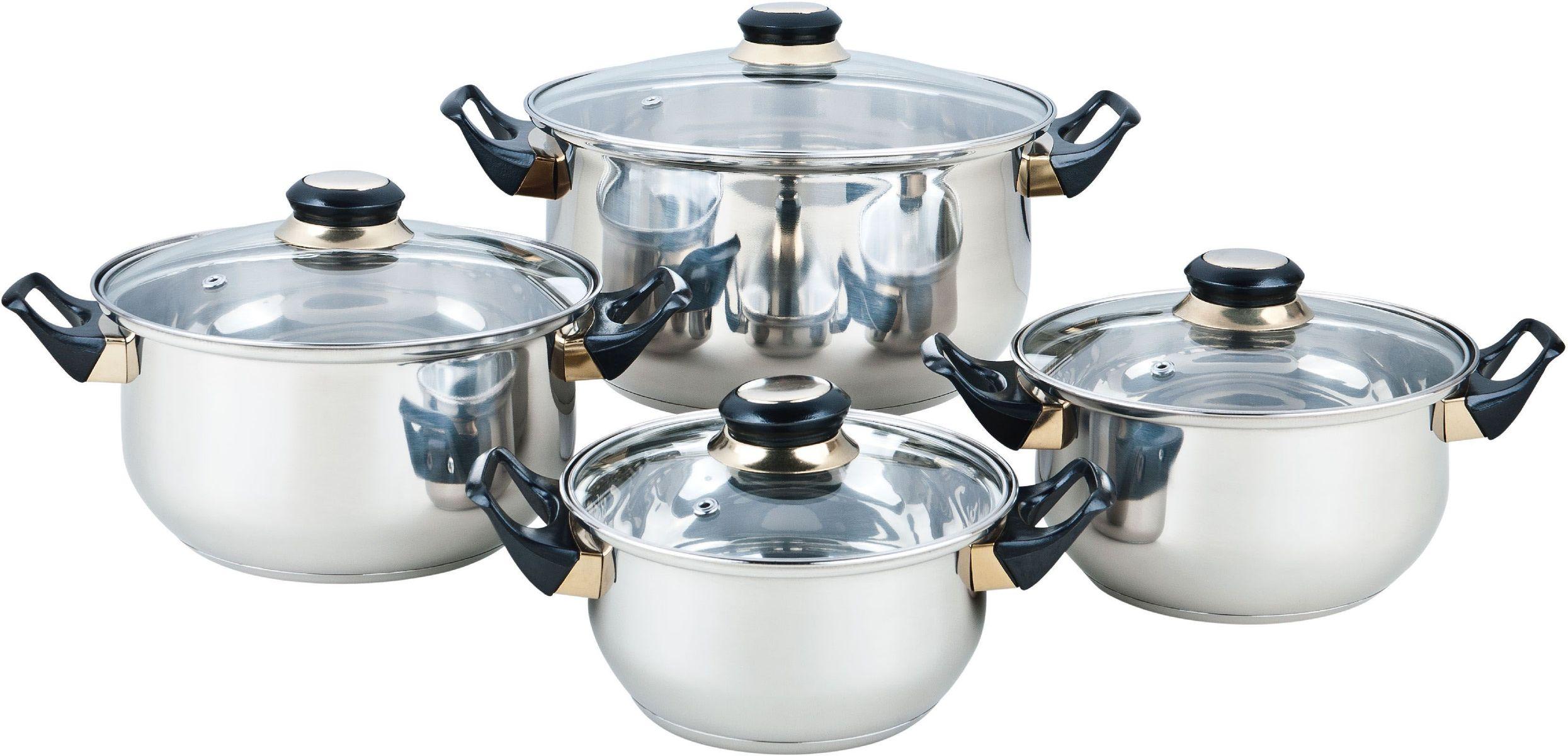 Набор посуды Bekker Classic, 8 предметов. BK-460268/5/2Набор Bekker Classic состоит из 4 кастрюль с крышками. Изделия изготовлены из высококачественной нержавеющей стали 18/10 с зеркальной полировкой. Посуда имеет капсулированное термическое дно - совершенно новая разработка, позволяющая приготавливать здоровую пищу. Благодаря уникальной конструкции дна, тепло, проходя через металл, равномерно распределяется по стенкам посуды. Для приготовления пищи в такой посуде требуется минимальное количество масла, тем самым уменьшается риск потери витаминов и минералов в процессе термообработки продуктов. Крышки выполнены из жаростойкого прозрачного стекла, оснащены ручкой, металлическим ободом и отверстием для выпуска пара. Такие крышки позволяют следить за процессом приготовления пищи без потери тепла. Они плотно прилегают к краю и сохраняют аромат блюд. Объем кастрюль: 1,5 л, 2,1 л, 3 л, 6 л.Внутренний диаметр кастрюль: 16 см, 18 см, 20 см, 24 см.