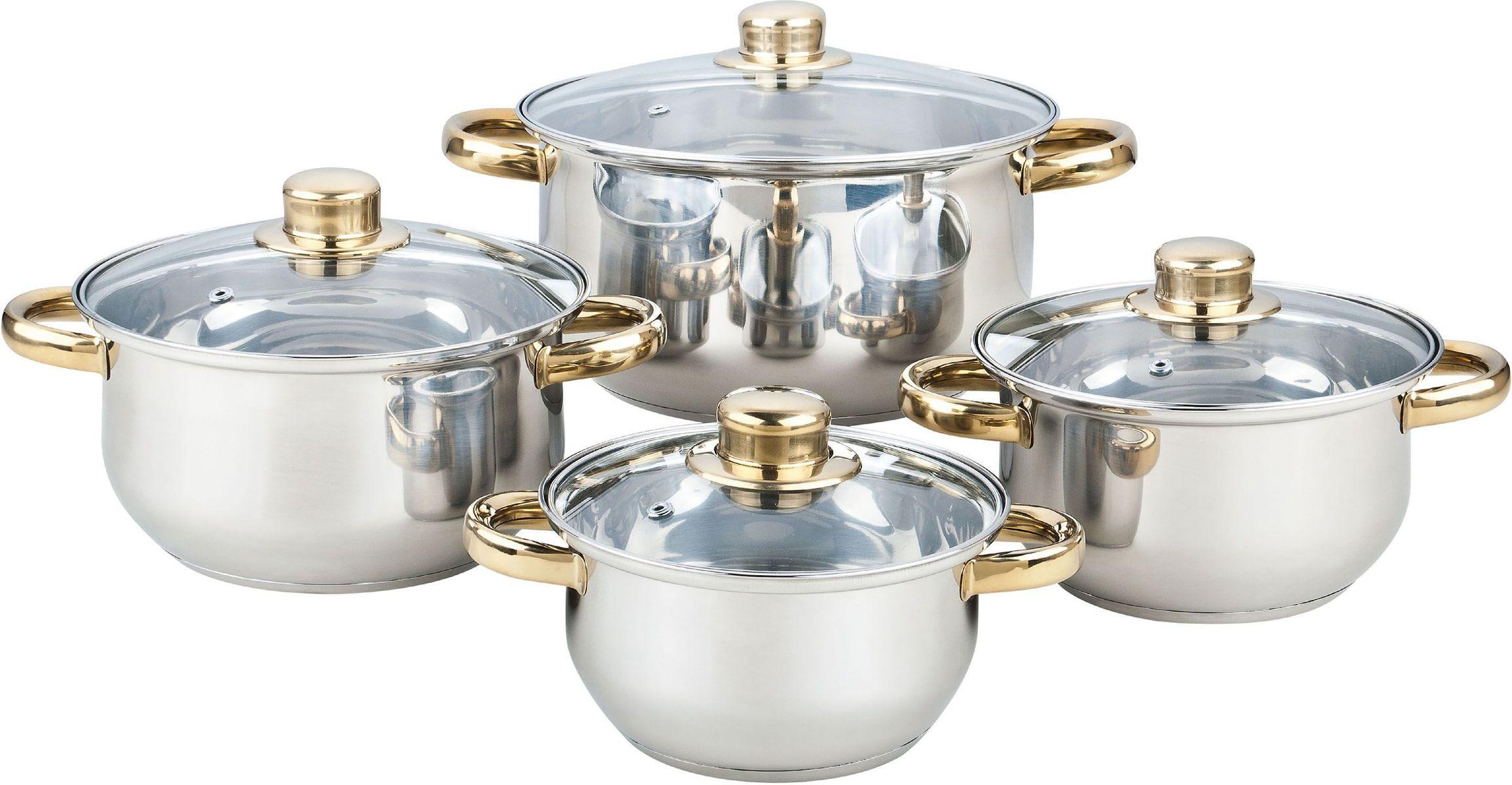 Набор посуды Bekker Classic, 8 предметов. BK-460354 0093128 предметов: 4 кастрюли со стеклянными крышками 16см/1,5л, 18см/2,1л, 20см/3л, 24см/6л. Ручки из нерж.стали под золото, поверхность зеркальная, капсулированное дно, толщина стенки 0,3 мм, дна 1,0 мм. Подходит для чистки в посудомоечной машине. Состав: нержавеющая сталь.