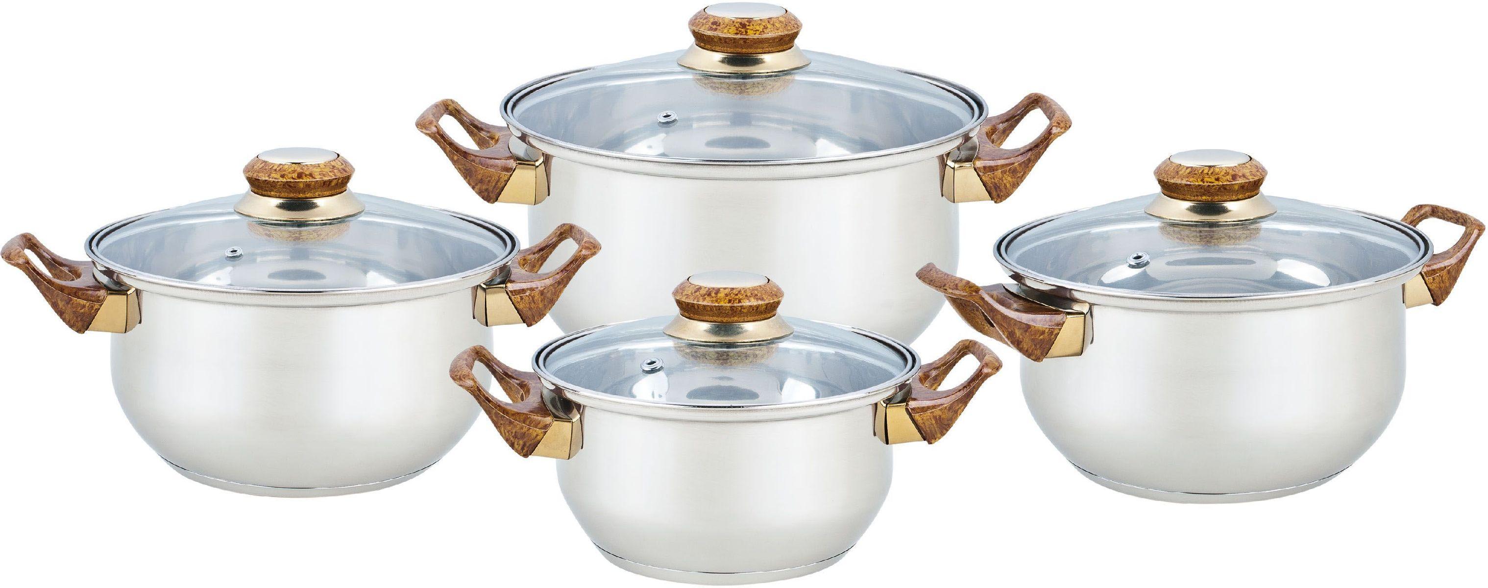 Набор посуды Bekker Classic, 8 предметов. BK-460454 0093128 предметов: 4 кастрюли со стеклянными крышками 16см/1,5л, 18см/2,1л, 20см/3л, 24см/6л. Ручки бакелитовые под дерево, поверхность зеркальная, капсулированное дно, толщина стенки 0,3 мм, дна 1,0 мм. Подходит для чистки в посудомоечной машине. Состав: нержавеющая сталь.