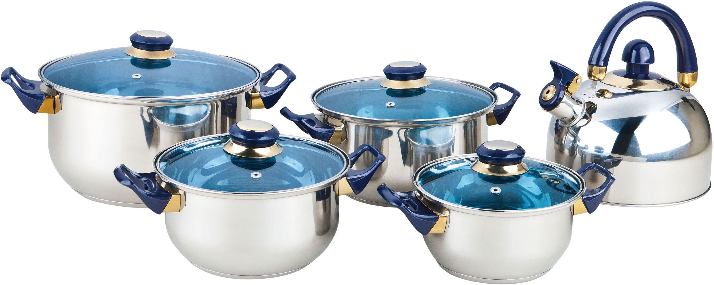 Набор посуды Bekker Classic, 9 предметов. BK-460554 0093129 предметов: 4 кастрюли со стеклянными крышками : 16см/1,6л, 18см/2,4л, 20см/2,8л, 24см/5,6л и чайник 2л. метал.со свистком и подвижной ручкой. Ручки бакелитовые темно-синие, поверхность зеркальная, капсулированное дно, толщина стенки 0,3 мм, дна 1,0 мм. Подходит для чистки в посудомоечной машине. Состав: нержавеющая сталь.