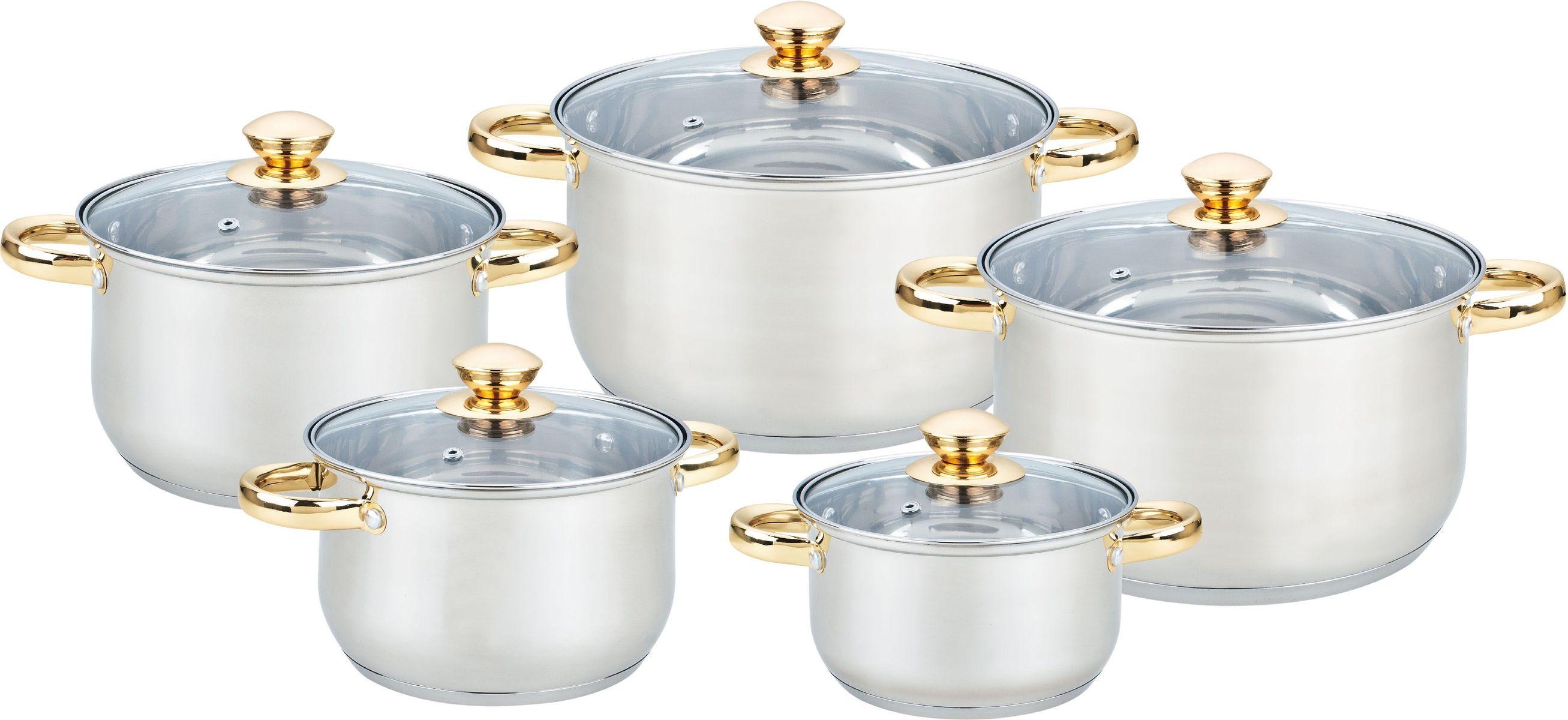 Набор посуды Bekker Jumbo. BK-259654 00931210 предметов: 5 кастрюль со стеклянными крышками : 16см/2,1л, 18см/2,9л, 20см/3,9л, 24см/6,5л, 24см/6,5л. Ручки из нерж.стали под золото, поверхность зеркальная, мерная шкала на внутренней стенке, капсулированное дно, толщина стенки 0,5 мм, дна 3,5 мм. Подходит для индукц.плит и чистки в посудомоечной машине. Состав: нержавеющая сталь.