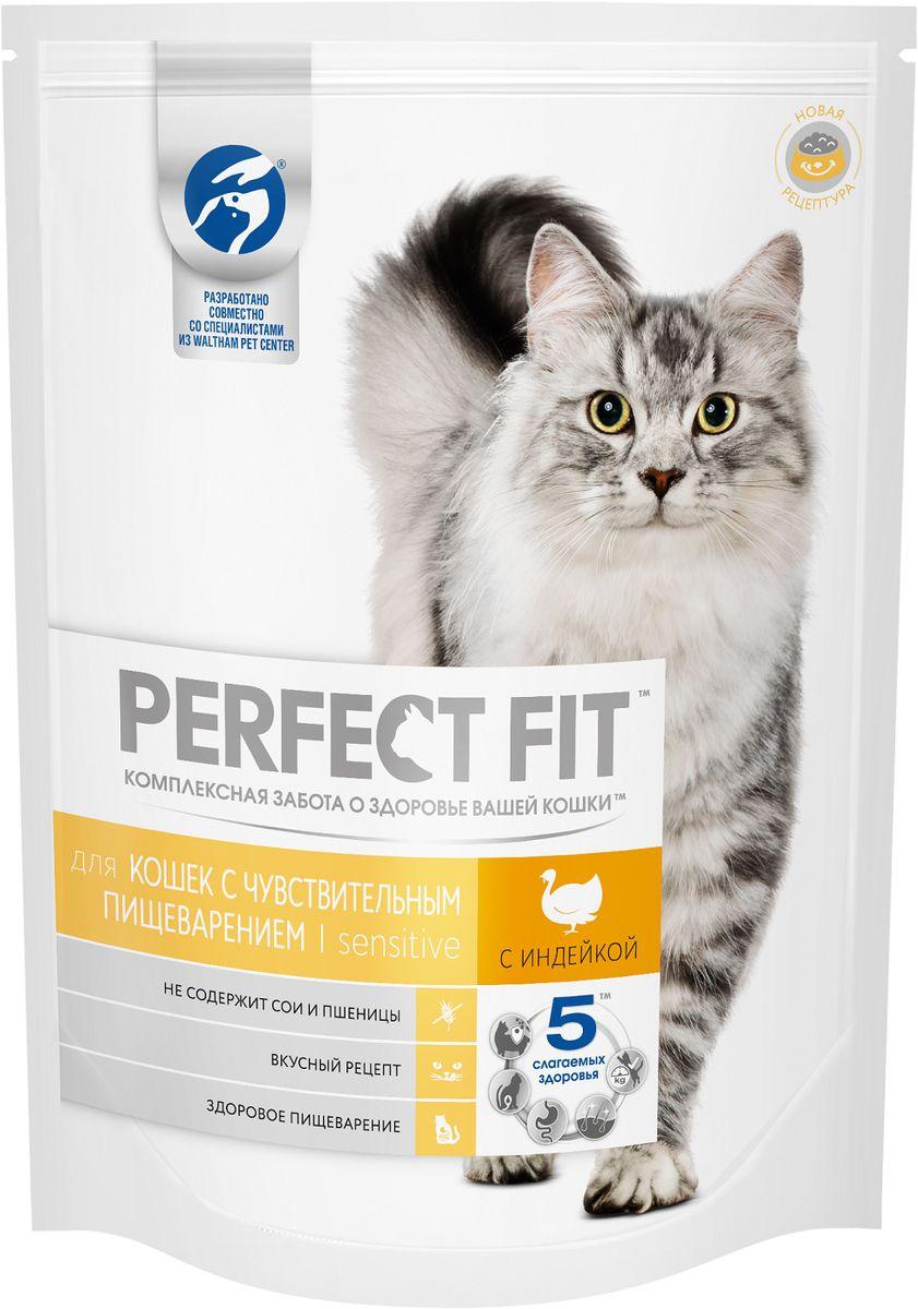 Корм сухой Perfect Fit, для кошек с чувствительным пищеварением, с индейкой, 650 г0120710Perfect Fit - рацион, адаптированный специально для кошек с особенностями пищеварения. Он содержит пребиотики, способствующие поддержанию здоровой микрофлоры кишечника, и не содержит пшеницы и сои, которые могут вызвать дискомфорт в желудке кошки.Вашу кошку следует кормить кормом комнатной температуры.Товар сертифицирован.