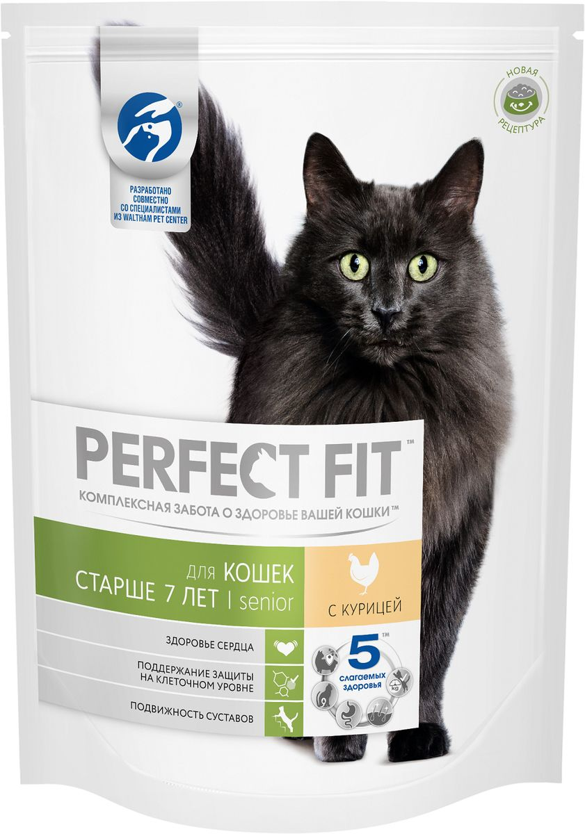 Корм сухой Perfect Fit, для кошек старше 7 лет, с курицей, 650 г42740Сухой корм Perfect Fit предназначен для кошек старше 7 лет. Он содержит таурин, поддерживающий активную работу сердца, витамины E и С, защищающие клетки от поражения свободными радикалами, а также глюкозоамин и Омега3-кислоты, которые позаботятся о здоровье суставов кошки. Правильная структура гранул корма подходит для чувствительных зубов кошек в пожилом возрасте.Товар сертифицирован.