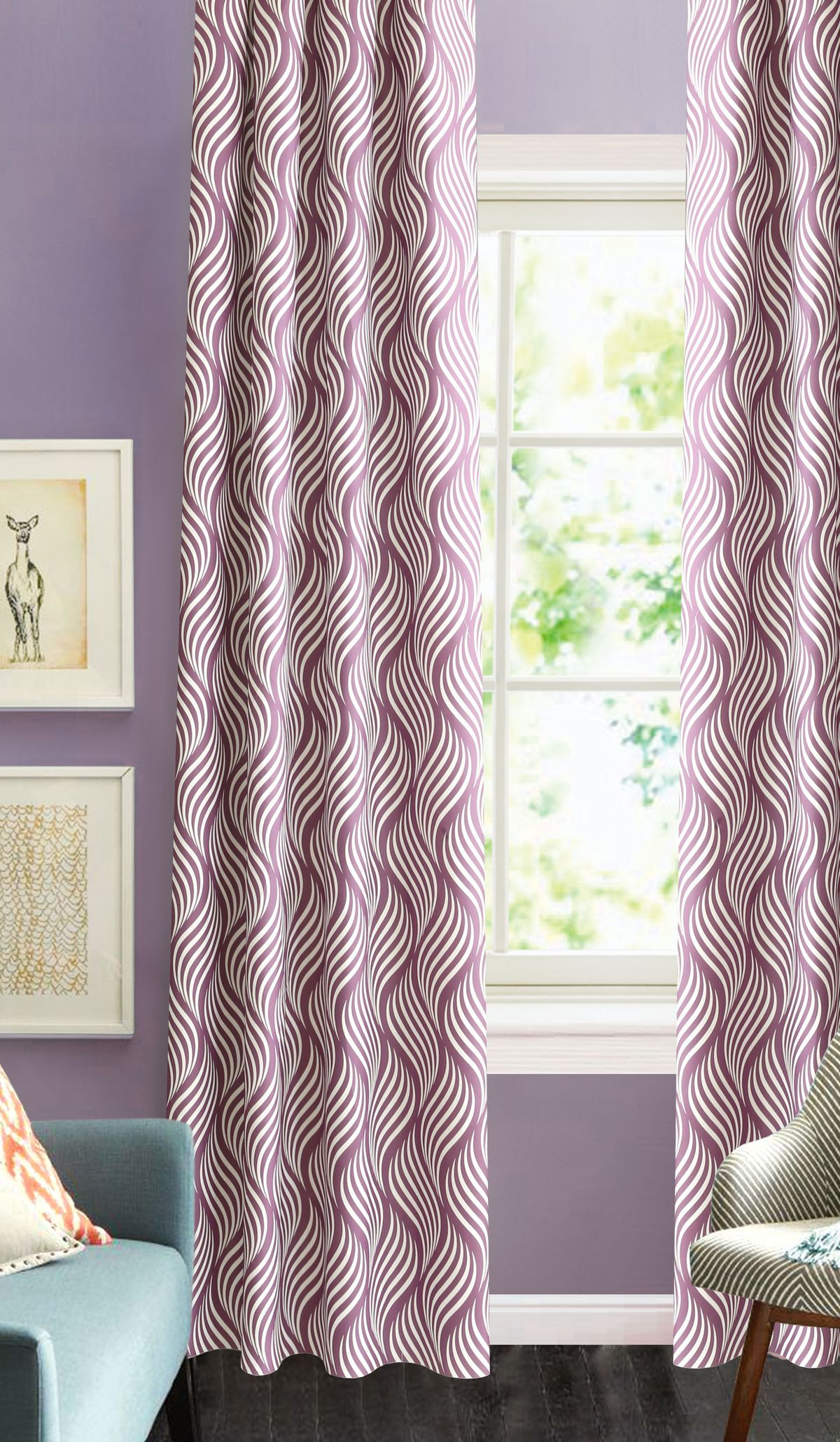 Штора готовая Garden, на ленте, цвет: сиреневый, 200х260 см. С 1264 - W1687 V88P308-8551/1Изящная штора для гостиной Garden выполнена из плотной ткани с узором. Приятная текстура и цвет привлекут к себе внимание и органично впишутся в интерьер помещения. Штора крепится на карниз при помощи ленты, которая поможет красиво и равномерно задрапировать верх.