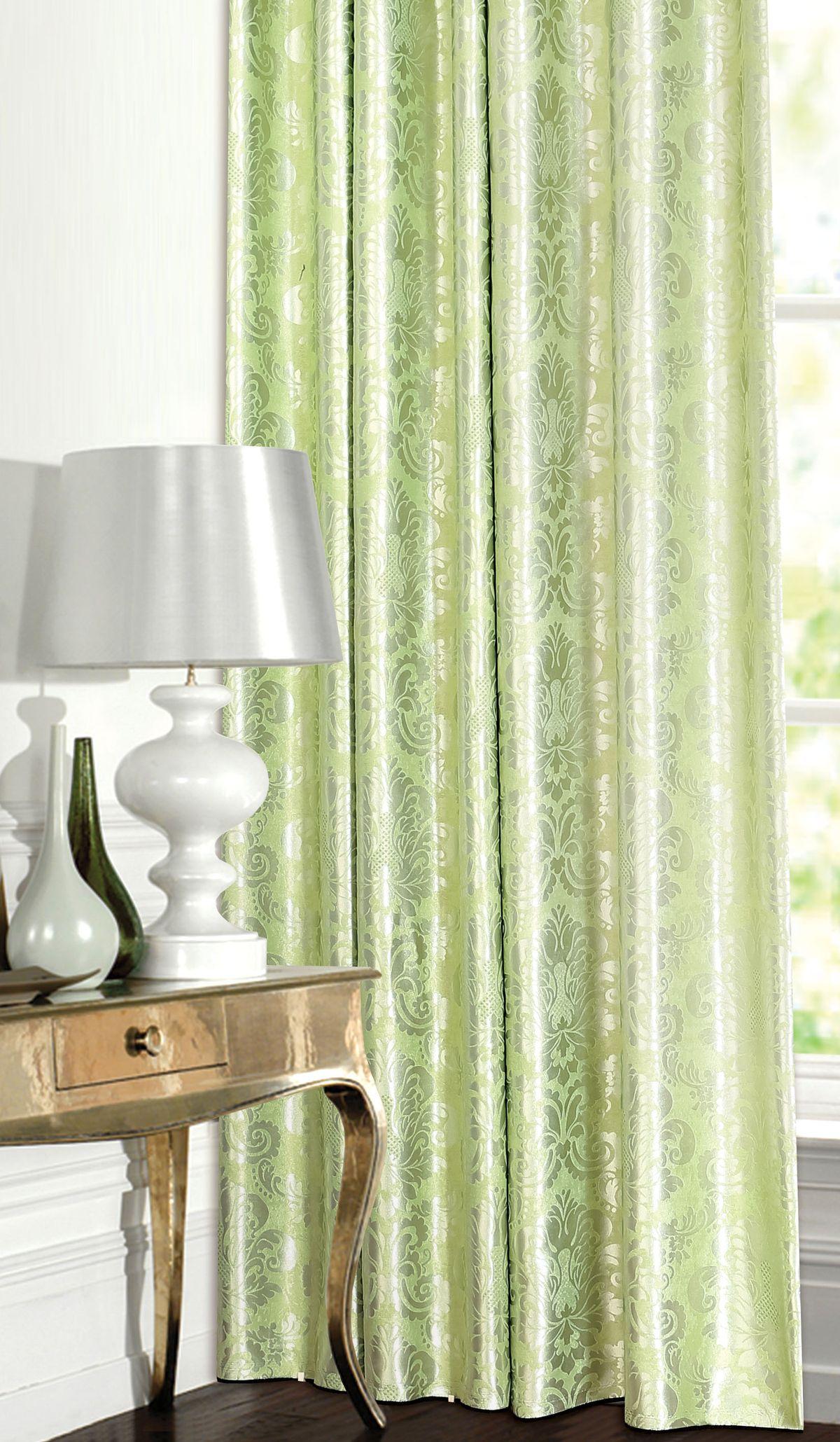 Штора Garden, на ленте, цвет: зеленый, высота 260 см. С 537392 V7K100Изящная штора для гостиной Garden выполнена из ткани с оригинальной структурой. Приятная текстура и цвет штор привлекут к себе внимание и органично впишутся в интерьер помещения. Штора крепится на карниз при помощи ленты, которая поможет красиво и равномерно задрапировать верх.