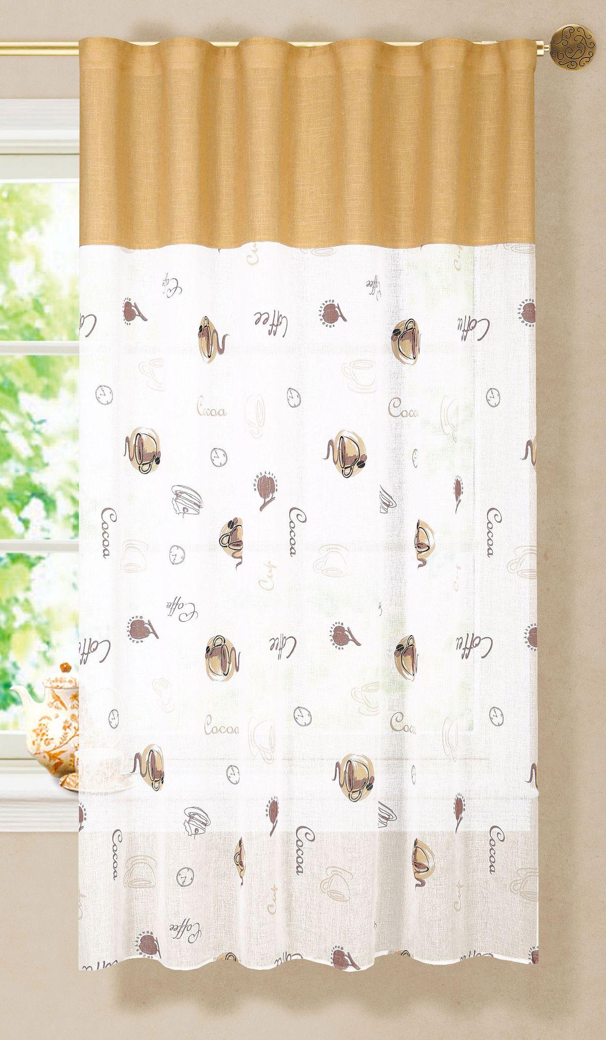 Штора готовая Garden, на ленте, цвет: белый, высота 180 см. С 6333 - W1887 - W1222 V6705544Изящная штора Garden для кухни выполнена из ткани с оригинальной структурой - батист. Приятная расцветка привлечет к себе внимание и органично впишется в интерьер помещения. Штора крепится на карниз при помощи ленты, которая поможет красиво и равномерно задрапировать верх.