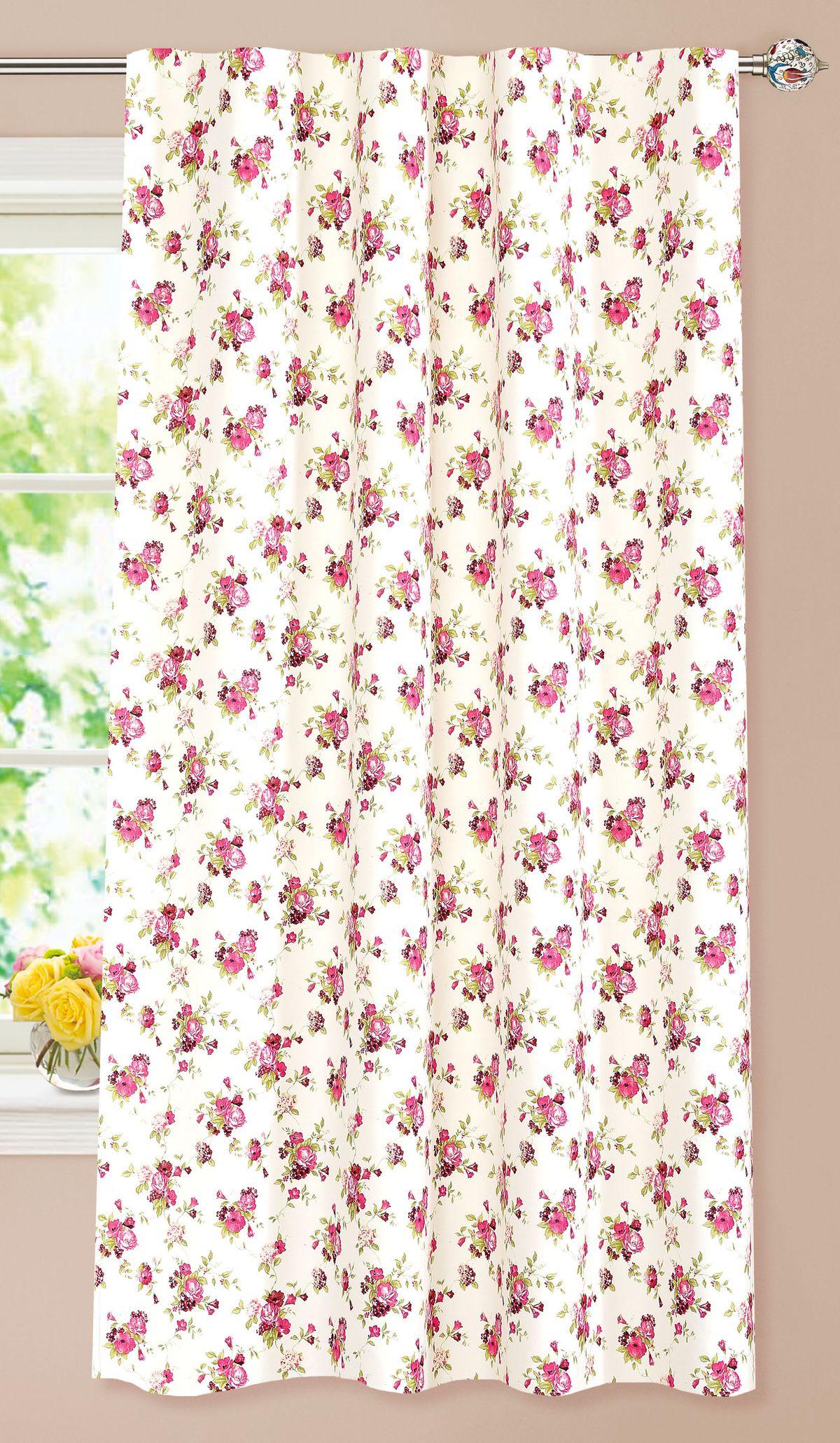 Штора готовая Garden, на ленте, цвет: розовый, 140х180 см. С 9162 - W1687 V20705504Штора для кухни Garden выполнена из плотной ткани с рисунком. Приятная текстура материала и яркая цветовая гамма привлекут к себе внимание и станут великолепным украшением кухонного окна. Штора оснащена шторной лентой для красивой сборки.
