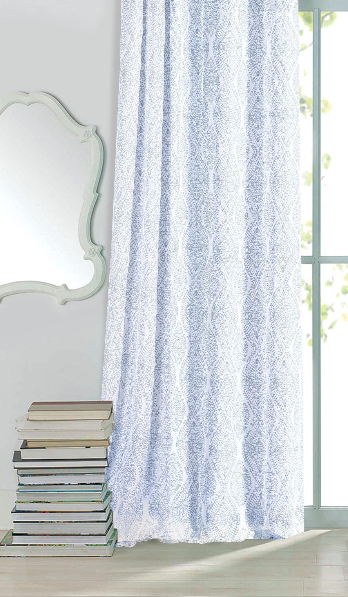Штора готовая Garden, на ленте, цвет: голубой, 300х260 см. С 3293 - W356 V16S03301004Изящная штора для гостинной Garden выполнена из ткани с оригинальной структурой. Приятная текстура и цвет штор привлекут к себе внимание и органично впишутся в интерьер помещения. Штора крепится на карниз при помощи ленты, которая поможет красиво и равномерно задрапировать верх.