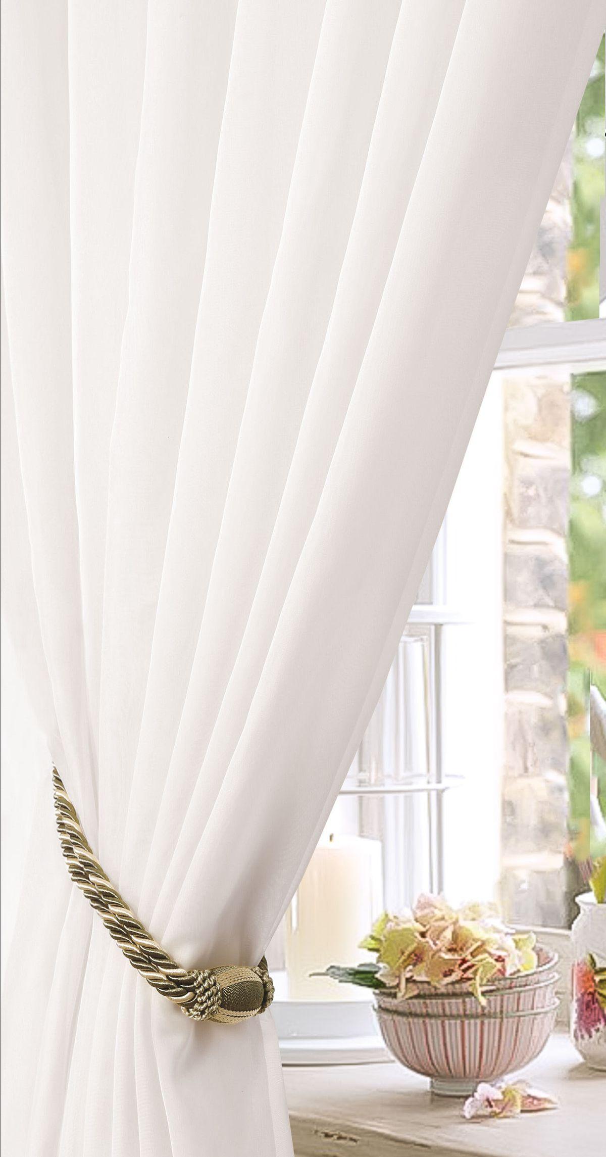 Штора Garden, на ленте, цвет: белый, высота 270 см. С W191 450х270 V700001004900000360Изящная штора для гостиной Garden выполнена из полиэстера. Она станет великолепным украшением любого окна. Воздушная ткань и приятная текстура создаст неповторимую атмосферу в вашем доме. Штора крепится на карниз при помощи ленты, которая поможет красиво и равномерно задрапировать верх.