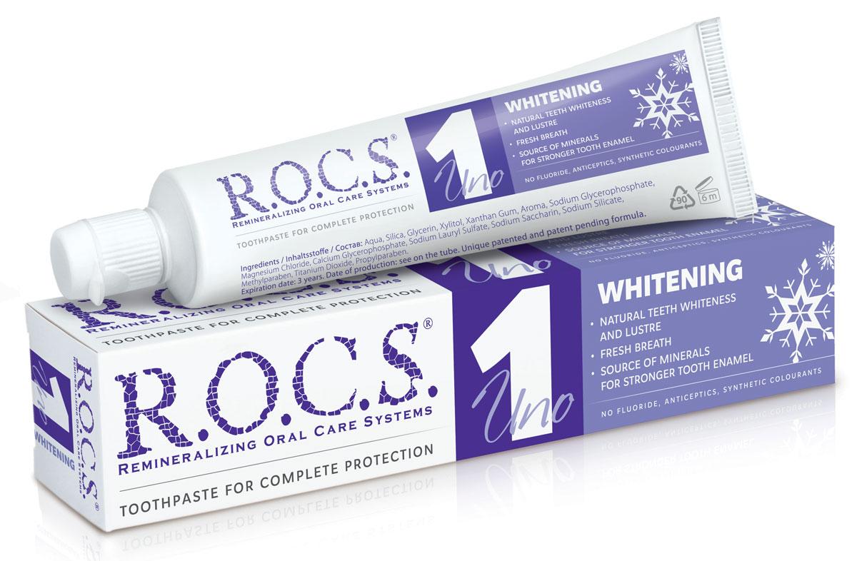 R.O.C.S. Uno Whitening Зубная паста Отбеливание, 74 гр806047Зубная паста содержит минеральный комплекс, обеспечивающий насыщение зубов кальцием и фосфором.Содержит ксилит (2,2%) - природный компонент, подавляющий активность кариесогенных бактерий, в комбинации с высокими концентрациями магния поможет успешнее бороться с зубным налетом.Эффективность применения зубной пасты с целью восстановления эмали в постпломбировочный период и для профилактики вторичного кариеса подтверждена клиническими и лабораторными исследованиями.Не содержит фтор, антисептики, синтетические красители.