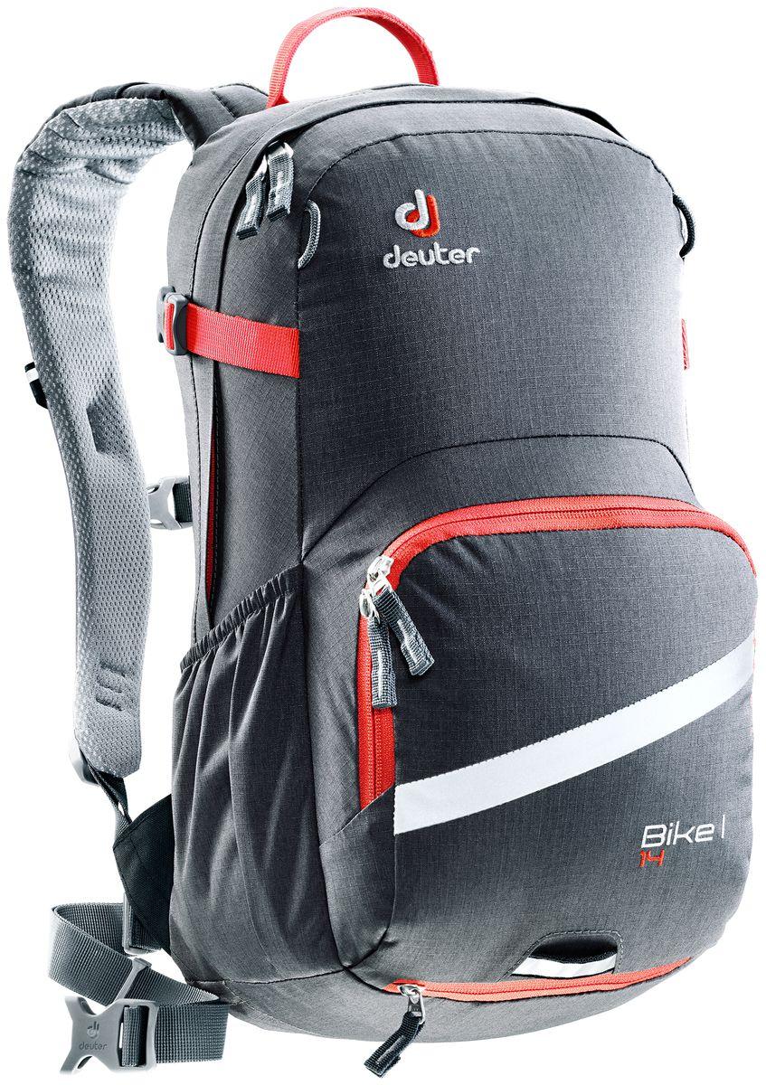 Рюкзак Deuter Bike I 14, цвет: темно-серый, 14 л3203117_4906Deuter представляет новый велорюкзак в классическом дизайне, который выглядит как предок этого рюкзака 25 летней давности. Но при этом новый Bike I выполнен по современным технологиями и с использованием лучших материалов. Рюкзак отлично подойдет для однодневных поездок на природе или в городе.Особенности:- съемный держатель для шлема;- прекрасная вентиляция, плотное прилегание к спине, благодаря системе Airstripes с регулируемыми стойками каркаса (Bike I 18 SL & 20);- максимальная вентиляция благодаря сетчатой FlexLite спинке AIRCOMFORT (Bike I Air EXP 16);- хорошо вентилируемые, легкие, сетчатые набедренные крылья пояса (Bike I 18 SL, Air EXP 16 & 20);- поясной ремень (Bike I 14);- чехол от дождя на молнии;- удобные плечевые лямки с мягкими краями Soft-Edge;- съемный, складывающийся дождевик;- компрессионные ремни;- большой карман на молнии с органайзером и карабином для ключей и отделениями для мобильного телефона, бумажника, инструментов и т.д.;- легкодоступное отделение на молнии для смартфона или карты на задней стороне;- эластичные боковые карманы;- большие 3M отражающие полосы на переднем кармане;- светоотражающая петля для габаритного фонарика;- отделение для влажной одежды;- совместимость с питьевой системой;Вес: 750 г.Объем: 14 л.Размеры: 46 x 23 x 17 см.