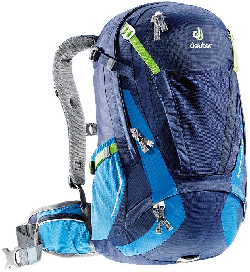Рюкзак Deuter Trans Alpine 30, цвет: синий, темно-синий, 30 лZ90 blackDeuter полностью переработал модель Trans Alpine. Один из самых популярных рюкзаков стал стройнее, современнее и еще универсальнее. Теперь есть сетка на фронтальной части рюкзака, которую можно использовать не только для крепления шлема, но и для вещей. Есть легкодоступный карман для телефона. Большая молния открывает легкий доступ в основное отделение. Особенности: - легкодоступное отделение на молнии сзади для смартфона или карт;- прекрасная вентиляция, компактность и идеальная подгонка к спине - все эти качества, обеспеченные системой Airstripes и многочисленными регулировками;- плотная, точная посадка, благодаря объединению набедренных крыльев пояса, прикрепленных к обивке с Auto Compress System и Pull-Forward регулировками; - три основные зоны с разными материалами - мягкие материалы на лямках, воздушные - на спинке и гладкие - на набедренном поясе; - разделяемое основное отделение; - съемный чехол от дождя с кармашком для фонарика и со светоотражающими элементами; - удобные плечевые лямки с мягкими краями; - широкие вентилируемые набедренные крылья пояса с сетчатыми карманами на молнии; - ремни регулировки нагрузки; - универсальный, эластичный карман для шлема, куртки и т.д.; - передний карман на большой молнии с органайзером и внутренним отделением для ценных вещей; - компрессионные ремни;- 3M отражатели со всех сторон;- петля для воздушного насоса;- светлая подкладка позволяет легко разглядеть любую мелочь;- эластичные боковые карманы;- светоотражающая петля для габаритного фонарика; - совместимость с питьевой системой; - SOS лейбл; Вес: 1250 г.Объем: 30 л.Размеры: 54 x 28 x 24 см.Материал: Deuter-Ripstop 210/Macro Lite 210.