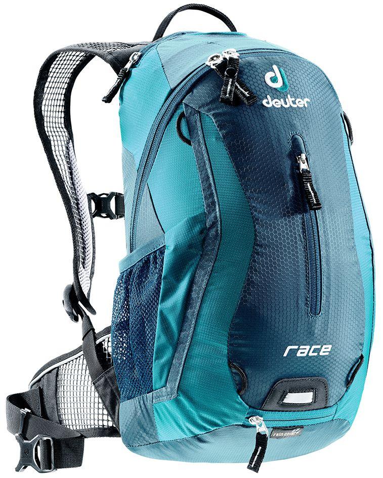 Рюкзак Deuter Race, цвет: голубой, синий, 10 лMABLSEH10001Deuter Race - спортивный и обтекаемый рюкзак для велогонщиков. Простой дизайн и малый вес - идеальный выбор для сторонников минимального веса. Рюкзак обладает небольшим весом и отличной функциональностью.Особенности:- Анатомические плечевые лямки и набедренный пояс с сетчатыми подушками обеспечивают идеальную посадку рюкзака; - Наружный карман; - Верхний карман с удобным доступом; - Внутренний карман для ценных вещей; - Отражатель 3M; - Петля для крепления ночного габаритного фонарика Safety Blink; - Крепления для системы снабжения питьевой водой; - Чехол от дождя; - Чентилируемая спинка Deuter Airstripes; - Анатомические плечевые лямки из сетки и нагрудный ремень с удобной регулировкой; - Набедренный пояс с сетчатыми крыльями; - Небольшой верхний карман на молнии; - Передний карман; - Отражатели 3M спереди, сзади и по бокам; - Внутренний карман для мелких вещей; - Петля для крепления ночного габаритного фонарика; - Чехол от дождя; - Сетчатые боковые карманы.Размеры: 42x21x16 см.