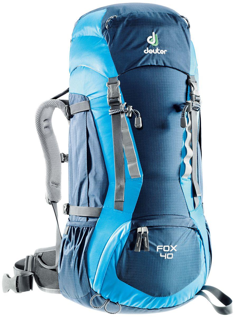 Рюкзак Deuter Fox 40, цвет: синий, темно-синий, 40 л36083_3306Deuter Fox оснащен продуманными деталями, которые есть в любом рюкзаке для серьезного похода. Fox готов сопровождать подростков в любых приключениях. Кроме того, подвесная система растет вместе с юным владельцем: система Vari-Quick регулируется под рост. Особенности: - подвесная система Alpine Back;- система регулировки спинки VariQuick;- петли для крепления ледоруба / телескопических палок;- боковые карманы в нижней части;- боковые компрессионные ремни;- петли daisy-chain для подвески снаряжения;- карман на молнии в верхнем клапане;- карман для мелких вещей под верхним клапаном;- петли на верхнем клапане;- дополнительный доступ в основное отделение в нижней части;- система затяжки набедренного пояса Pull-Forward;- крылья пояса с петлями для подвески снаряжения;- свисток на нагрудном ремне;- плечевые лямки с мягкими краями;- совместимость с питьевой системой.Материал: Ballistic / Super-Polytex. Вес: 1300 г.Объем: 40 л + 4 л. Размеры: 68 x 30 x 24 см.