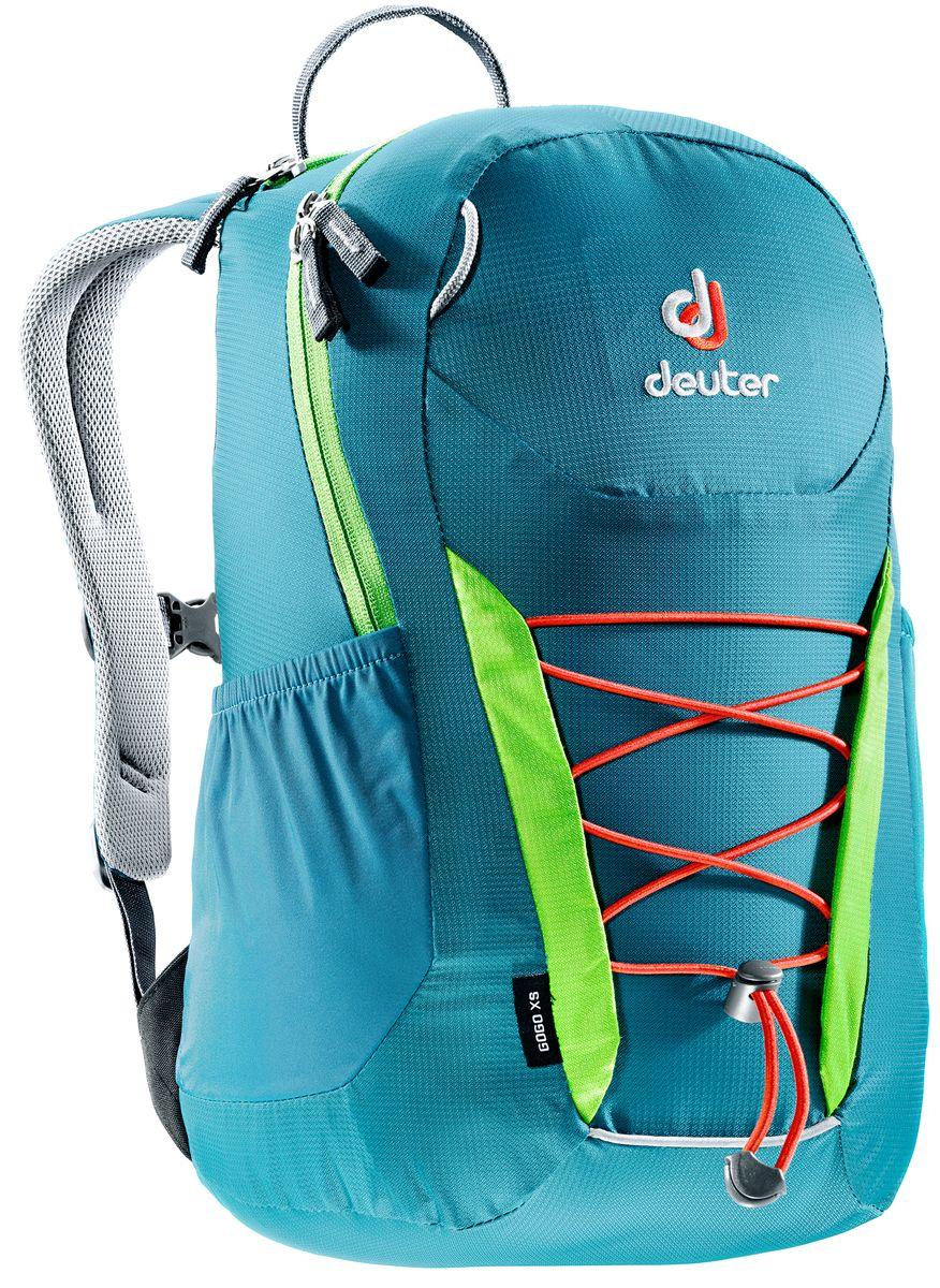 Рюкзак Deuter Gogo XS, цвет: голубой, салатовый, 13 л3611017_3214Детский вариант классического городского рюкзака Deuter Gogo подходит для детей от 5 лет и старше, для походов в бассейн или на занятия спортом. Анатомическая спинка и современный дизайн делают этот рюкзак одним из лучших для юного поколения. Особенности: - спина хорошо вентилируется благодаря системе Airstripes; - для детей в возрасте от 5 лет; - анатомические, мягкие плечевые лямки; - удобный доступ в основное отделение с 2-ходовой полукруглой молнией;- внешний карман на молнии;- эластичные боковые карманы;- плавно регулируемый грудной ремешок;- отделение для мокрых вещей;- эластичный шнур-стяжка на внешней стороне.Вес: 330 г.Объем: 13 л.Размеры: 39 x 23 x 17 см.Материал: Macro Lite 210.