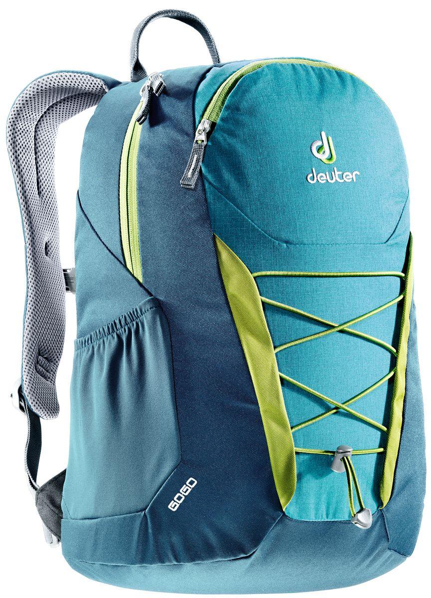 Рюкзак Deuter Gogo, цвет: голубой, темно-синий, 25 л3820016_3325Представляем обновленный, обтекаемый, с техническим дизайном рюкзак Deuter Gogo для школы, офиса и на каждый день. В нем сохранились все практичные опции, и добавилась новая комфортная подвесная система.Особенности: - спинка Airstripes для великолепной вентиляции;- очень комфортные, эргономичные, мягкие плечевые лямки;- легкий доступ в основное отделение через двухходовую U-образную молнию;- передний карман на молнии с карабином для ключей;- эластичные боковые карманы;- нагрудный ремешок с плавной регулировкой;- сменный поясной ремень;- главное отделение размером папки для бумаг;- отделение для документов;- эластичный корд на фронтальной части рюкзака;- внутренний карман для ценных вещей.Вес: 590 г.Объем: 25 л.Размеры: 46 x 30 x 21 см.Материал: Super-Polytex.