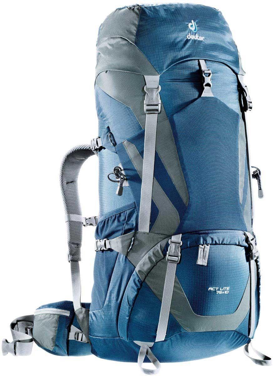 Рюкзак Deuter ACT Lite 75+10, цвет: серый, синий, 75 л4340315_3473Надежный вместительный рюкзак ACT Lite 75+10 создан для путешествий и экспедиций: совершенная подвеска с комфортной спинкой, прямой доступ в основное отделение - сочетание комфорта и функциональности. Благодаря подвижным набедренным крыльям Vari Flex, системе спинки Vari Quick и каркасу X-Frames, одна и та же система подвески подходит к любым грузам от средних до тяжёлых, оставаясь устойчивой, гибкой и эффективно распределяющей нагрузку. Система Aircontact с продуманной эргономичной системой подушек спинки очень хорошо сидит на спине и обеспечивает отличную вентиляцию со всех сторон. Особенности: - экономия энергии и комфорт, благодаря анатомическому подвижному набедренному поясу Vari Flex, отслеживающему любое ваше движение;- компрессионные ремни на набедренных крыльях для точной регулировки положения груза;- поясная застёжка Pull-Forward легко регулируется даже под тяжёлым грузом;- прочный сотовый алюминиевый X-образный каркас передает нагрузку на набедренный пояс;- благодаря специальному покрою верхней части рюкзака и возможности регулировать положение верхнего клапана, обеспечивается свободное движение головы;- три боковых компрессионных ремня; - боковые карманы со складками, питьевая система, карман на молнии в набедренном поясе; - карман в верхнем клапане;- большой внутренний карман на молнии;- две цепочки петель daisy chain для навески снаряжения;- петли на верхнем клапане для крепления дополнительных грузов;- петля для ледоруба;- боковые карманы для стоек палатки; - двухслойное дно;- карманы на молнии для карт сбоку;- Объем: 75 + 10 л. Размер: 92 х 36 х 40 см.