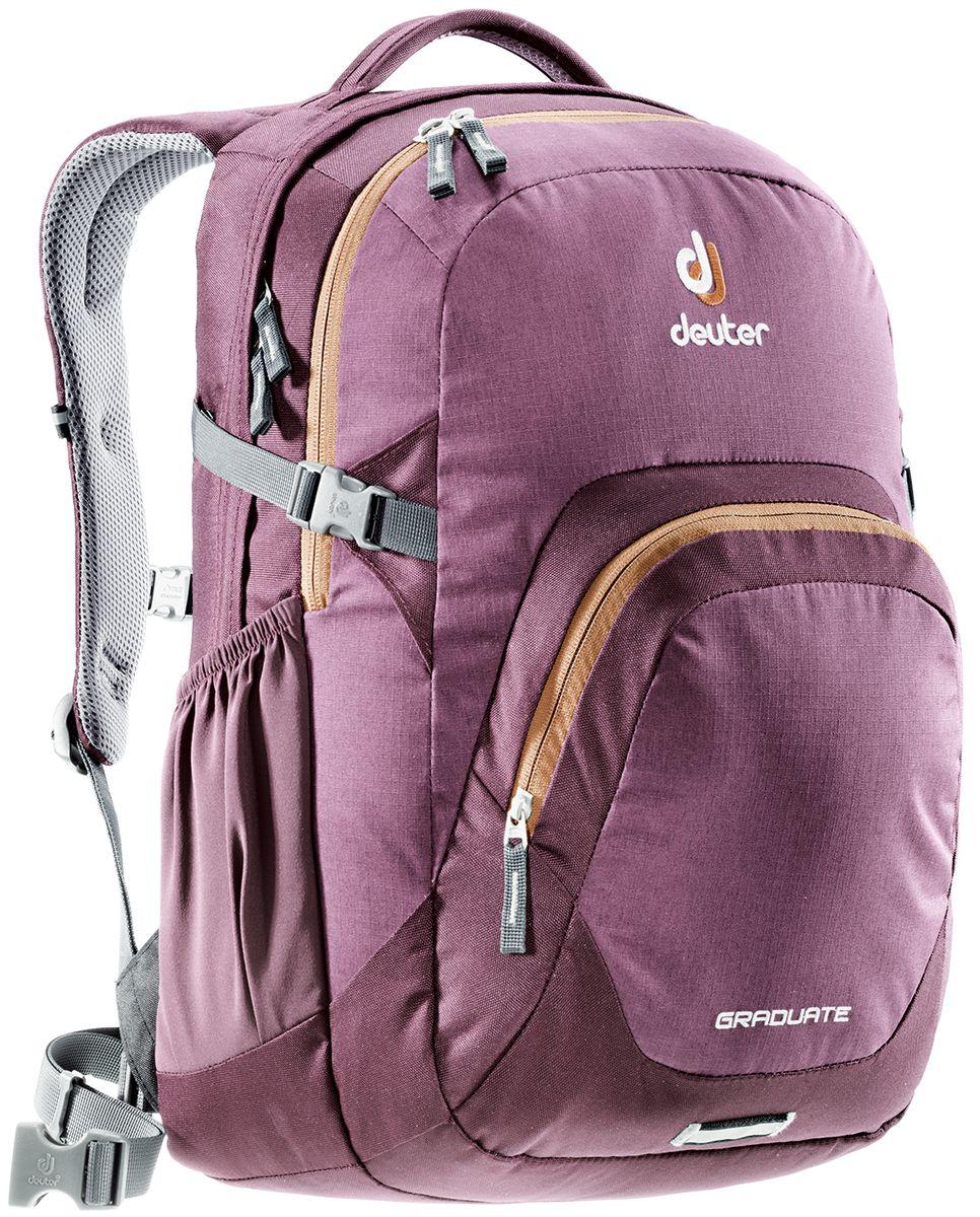Рюкзак Deuter Daypacks Graduate, цвет: коричневый, фиолетовый, 28 л80232_5607Новый рюкзак для работы, учебы и вообще для чего угодно. Загружайте его тяжелыми книгами, большими пакетами с перекусом, ноутбуком - Graduate вмещает все. Все это легко нести, благодаря продуманной анатомической спинке с мягкими подушками системы Airstripes. Особенности: Система подвески Airstripes; Анатомические мягкие плечевые лямки; Основной отсек под размер папки со встроенным мягким отделением под ноутбук 15,4; Просторное второе отделение; Большой фронтальный карман с органайзером; Эластичные боковые карманы; Фиксатор для фонарика безопасности с отражателем 3M; Мягкая ручка; Съемный поясной ремень; Нагрудный ремень; Компрессионные стропы. Размер рюкзака: 48 х 33 х 23 см.
