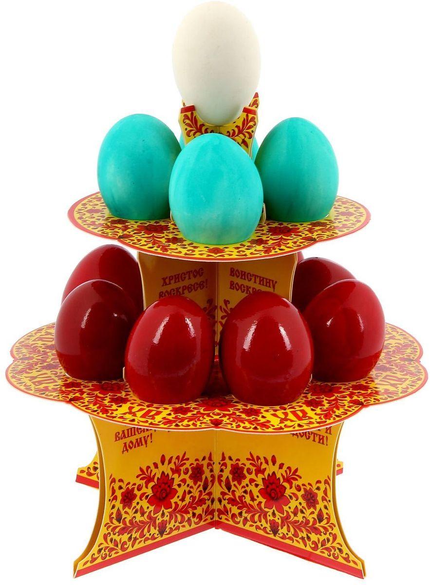 Подставка пасхальная ХВ. Под хохлому, на 12 яиц, 19,8 х 19,8 см. 1211812VT-1520(SR)От хорошей кухонной утвари зависит половина успеха вкусного блюда. Чтобы еда была вкусной, важно ее правильно приготовить и сервировать. Подставка пасхальная со скретч-слоем на 12 яиц поможет вам в этом деле.