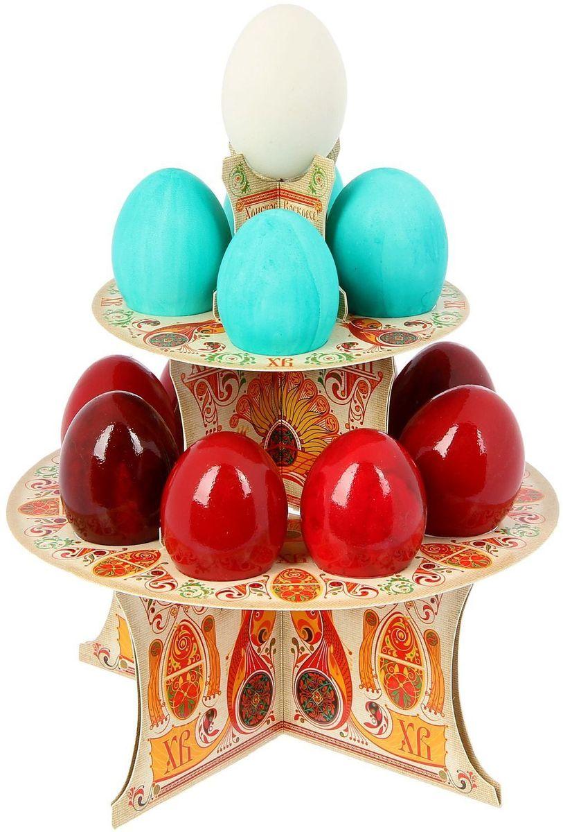 Подставка пасхальная ХВ. Русские узоры, на 12 яиц, 19,8 х 19,8 см. 1211813VT-1520(SR)От хорошей кухонной утвари зависит половина успеха вкусного блюда. Чтобы еда была вкусной, важно ее правильно приготовить и сервировать. Подставка пасхальная со скретч-слоем на 12 яиц поможет вам в этом деле.