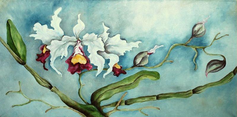Картина Орхидеи, 30 х 60 см. Автор Марина РаззакU30902Автор Марина Раззак. Картина Орхидеи. Санкт-Петербург, 2017 год. Размеры: 30 х 60 см. Холст на подрамнике, масло, покрытие акриловым лаком. Без рамы. Края по авторскому решению окрашены в цвет полотна.
