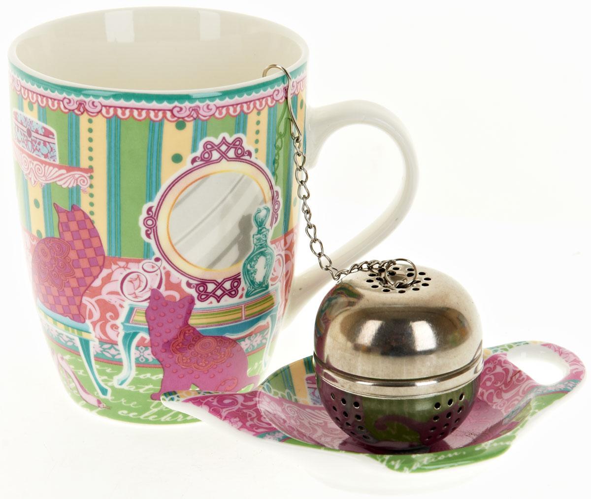 Кружка Nouvelle De France Кошки, с фильтром, с подставкой под чайный пакетик, 340 мл115510Оригинальная кружка Nouvelle с ситечком для заварки и подставкой под чайный пакетик, выполненная из высококачественного фарфора, сочетает в себе изысканный дизайн с максимальной функциональностью.Красочность оформления кружки придется по вкусу и ценителям классики, и тем, кто предпочитает утонченность и изысканность.В комплект входит кружка, ситечко и подставка. Можно использовать в ПММ.