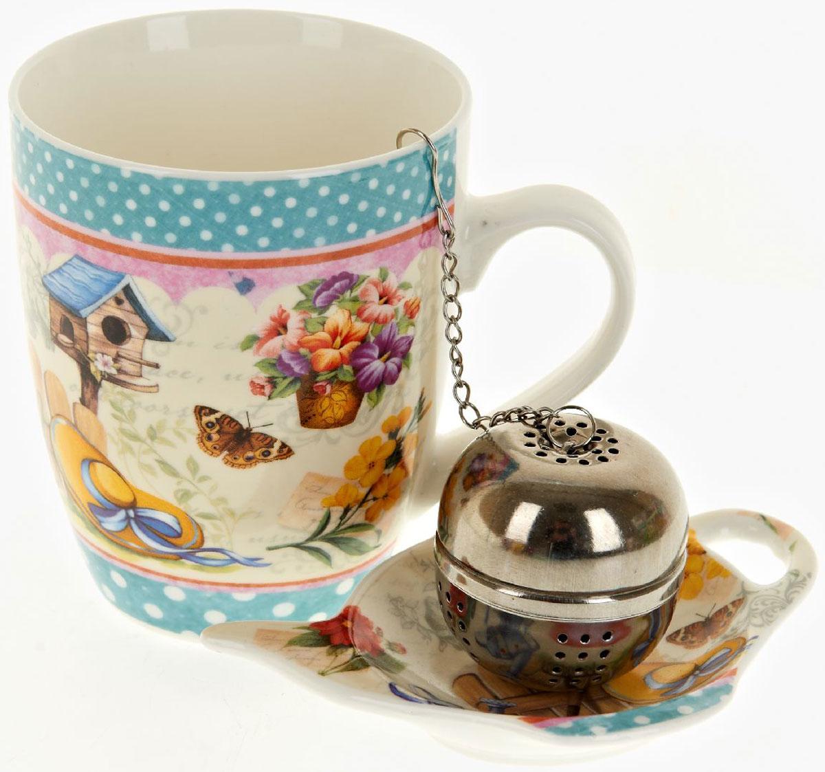 Кружка Nouvelle De France Сад, с фильтром, с подставкой под чайный пакетик, 340 мл54 009303Оригинальная кружка Nouvelle с ситечком для заварки и подставкой под чайный пакетик, выполненная из высококачественного фарфора, сочетает в себе изысканный дизайн с максимальной функциональностью.Красочность оформления кружки придется по вкусу и ценителям классики, и тем, кто предпочитает утонченность и изысканность.В комплект входит кружка, ситечко и подставка. Можно использовать в ПММ.