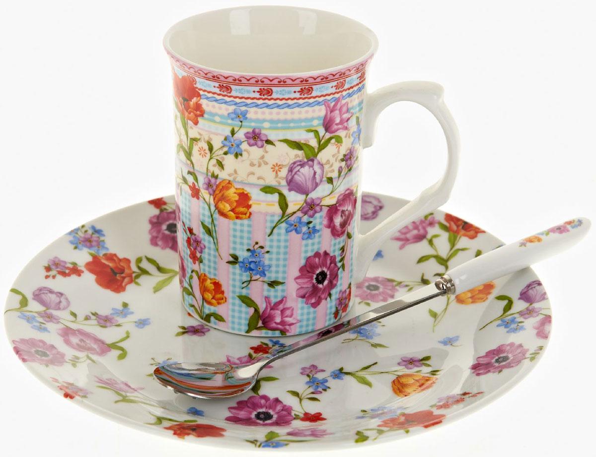 Чайная пара Nouvelle De France Разноцветные тюльпаны, с ложкой, 3 предметаFS-91909Оригинальная фарфоровая кружка Nouvelle с ложкой и десертная тарелка, выполнены из высококачественной керамики, сочетают в себе изысканный дизайн с максимальной функциональностью.Красочность оформления кружки придется по вкусу и ценителям классики, и тем, кто предпочитает утонченность и изысканность.В комплект входит кружка, ложка и десертная тарелка. Можно использовать в ПММ.