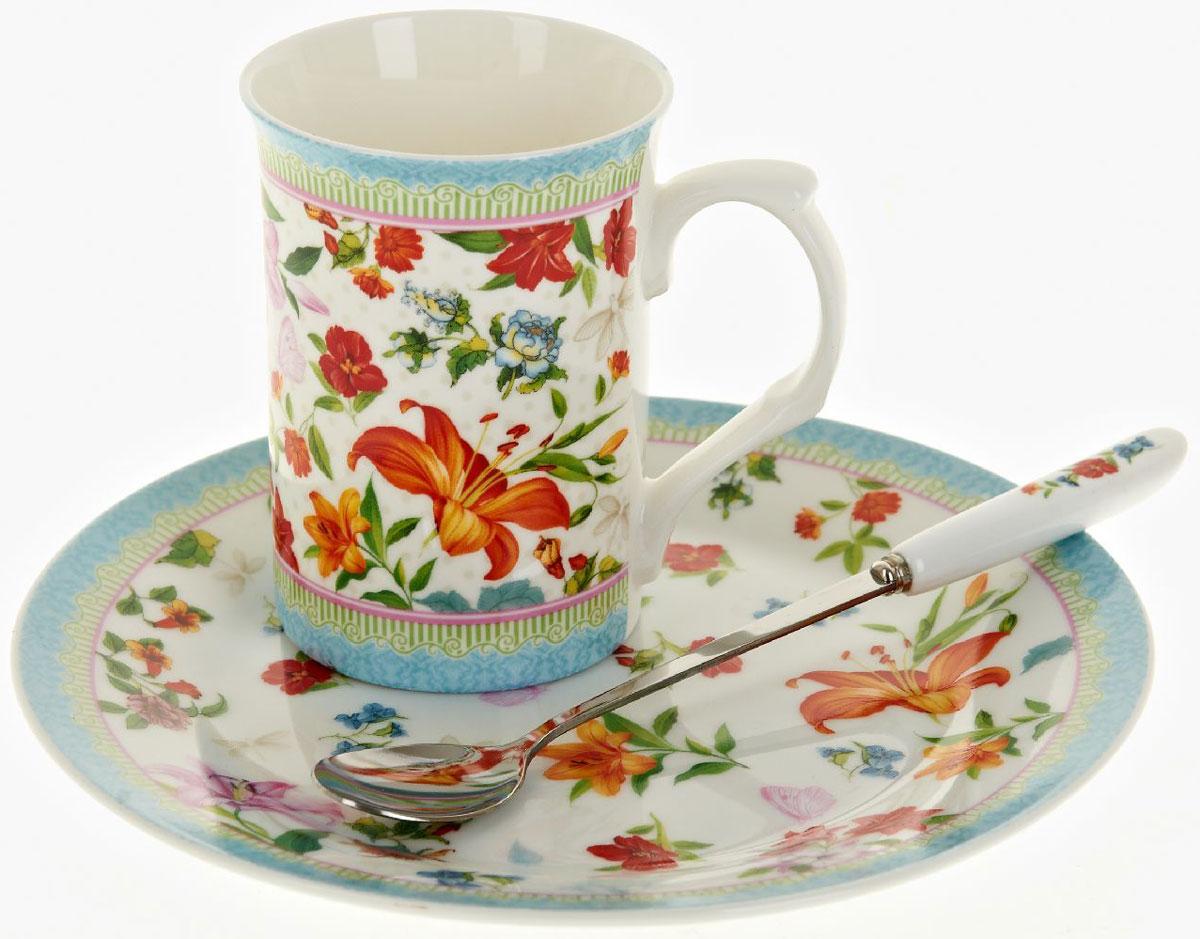 Чайная пара Nouvelle De France Восточная лилия, с ложкой, 3 предмета54 009312Оригинальная фарфоровая кружка Nouvelle с ложкой и десертная тарелка, выполнены из высококачественной керамики, сочетают в себе изысканный дизайн с максимальной функциональностью.Красочность оформления кружки придется по вкусу и ценителям классики, и тем, кто предпочитает утонченность и изысканность.В комплект входит кружка, ложка и десертная тарелка. Можно использовать в ПММ.