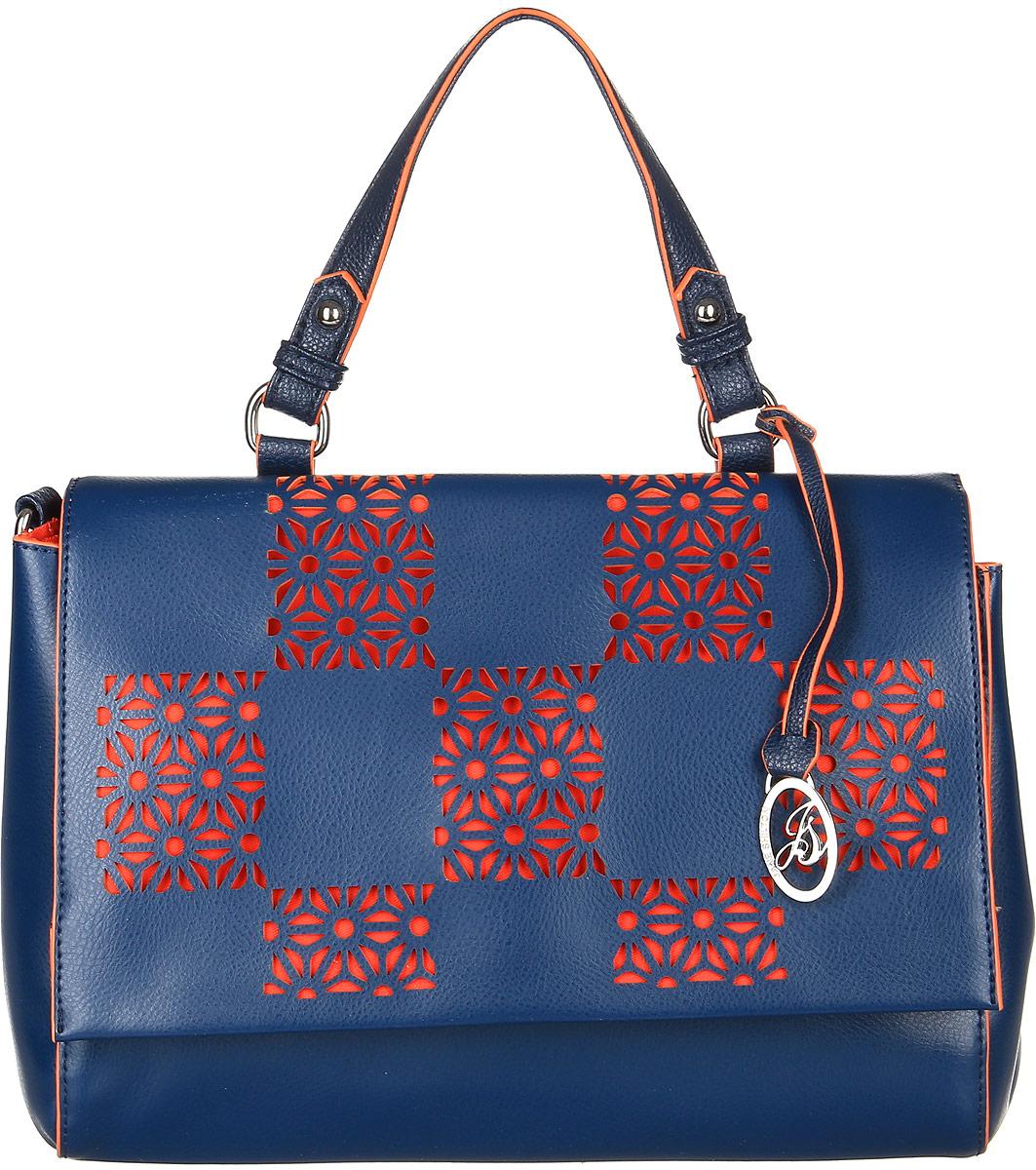 Сумка женская Jane Shilton, цвет: темно-синий. 2314BM8434-58AEСтильная сумка на одной ручке и съемном ремне. Застегивается клапаном на магните. Внутри разделитель, кармашек на молнии и карман для мобильного телефона. Сзади прорезной карман на молнии.