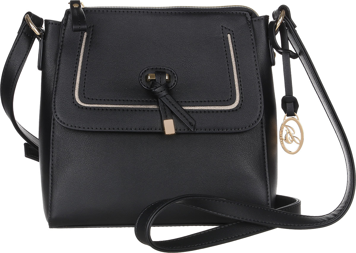 Сумка женская Jane Shilton, цвет: черный. 2316EQW-M710DB-1A1Прекрасная сумочка на длинном регулируемом ремне. Застежкой на молнию. Внутри потайной кармашек на молнии и для мобильного телефона. Спереди карман на магните с клапаном.