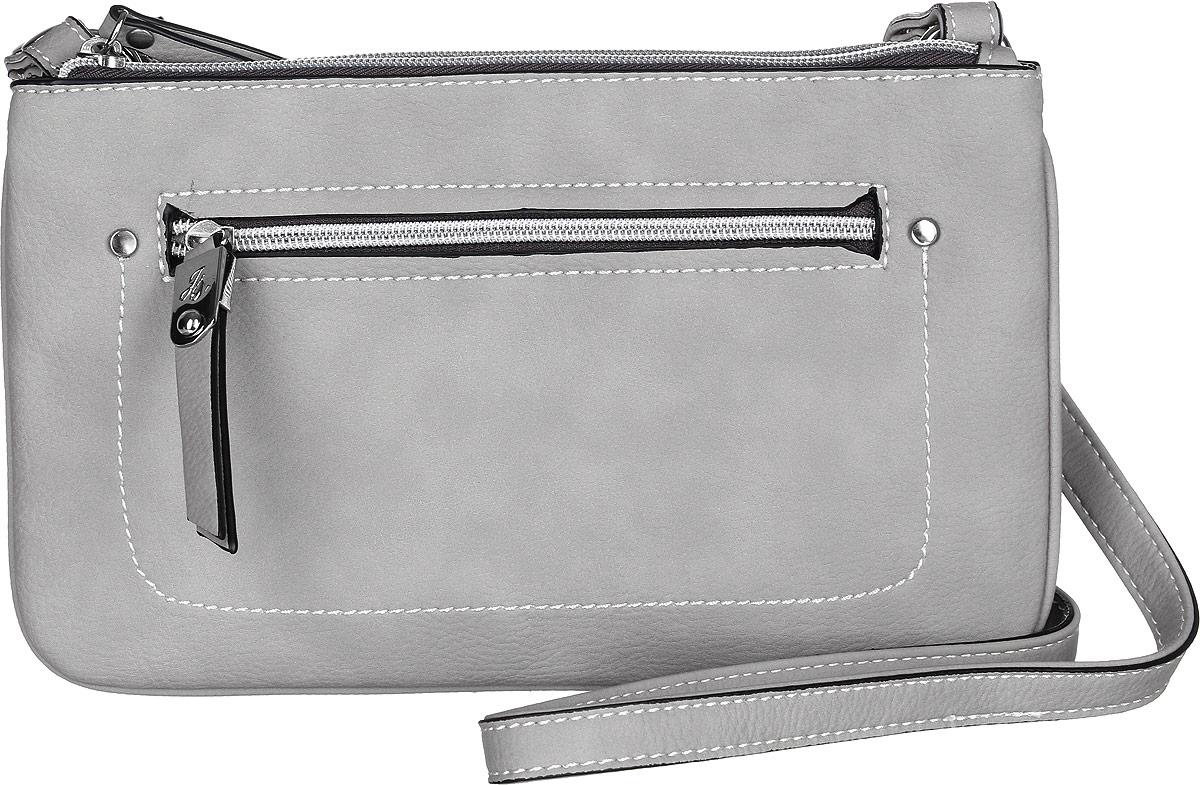 Сумка женская Jane Shilton, цвет: светло-серый. 2290BM8434-58AEЭффектная сумочка Jane Shilton выполнена из искусственной кожи. Модель с двумя отделениями, каждое застегивается на молнию. Спереди карман на молнии. Внутри потайной кармашек на молнии и для мобильного телефона. Длинный ремень можно полностью отстегнуть и сумка превратится в клатч.