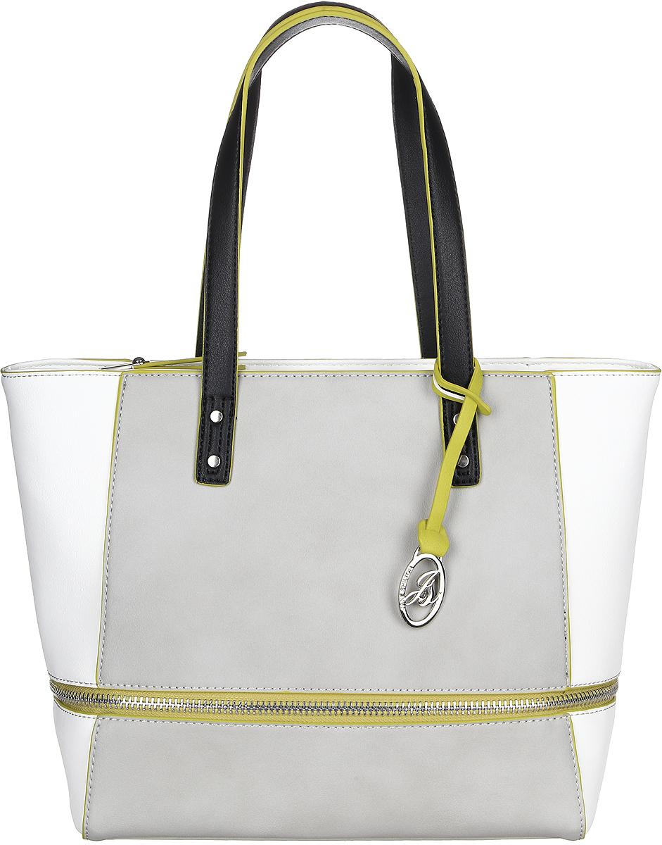 Сумка женская Jane Shilton, цвет: серый. 2324BM8434-58AEУдобная сумка на двух ручках средней длины, с застежкой на молнию. Внутри разделитель на молнии, потайной кармашек на молнии и кармашек для мобильного телефона. Сзади карман на молнии.