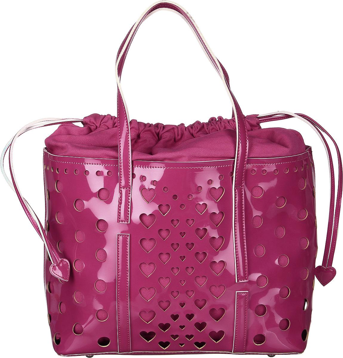 Сумка женская Vittorio Richi, цвет: малиново-пурпурный. 913140RivaCase 8460 blackСумка из экокожи с перфорацией. Внутри текстильный мешок на затяжках. Высота ручек 21см.