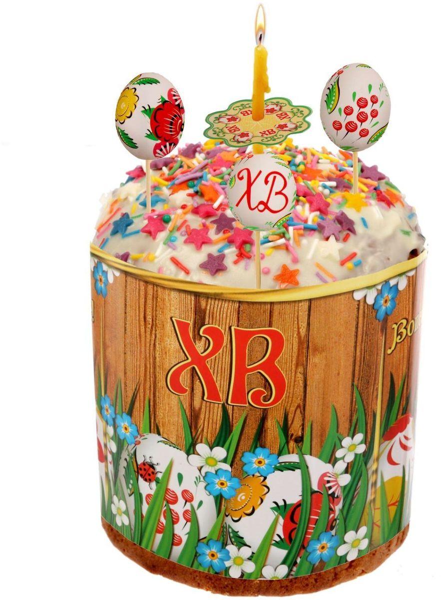 Пасхальный набор ХВ. Яйца, 9,6 х 13,8 см. 1620228115510Радости, добра и света вам и вашим близким!Пасхальный набор поможет без труда оформить праздничный стол и создать торжественное настроение у вас и у гостей.В набор входит:шпажка — 5 шт.;ободок для кулича;манжета для свечи — 4шт.Шпажки с декоративными элементами украсят кулич и сделают лакомство особенным. Ободок защитит угощение от маленьких ручек, которые так и норовят отщипнуть кусочек. Его размер регулируется, поэтому изделие подходит для больших и маленьких куличей. Манжеты спасут руки и окружающие предметы от воска горящих свеч.