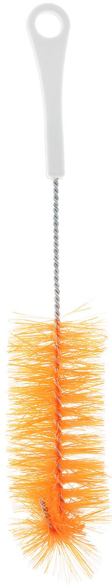 Ершик для бутылок Svip, цвет: оранжевый, длина 28,5 см787502Ершик Svip предназначен для мытья бутылок, банок, термосов и других предметов. Изделие оснащено износостойкой щетиной средней жесткости, выполненной из сложных полимеров и закрепленной на металлическом крученом стержне. Эргономичная рукоятка, изготовленная изполипропилена (пластика), оснащена отверстием для подвешивания. Длина ершика: 28,5 см, Размер щетины: 14 х 5 х 5 см.