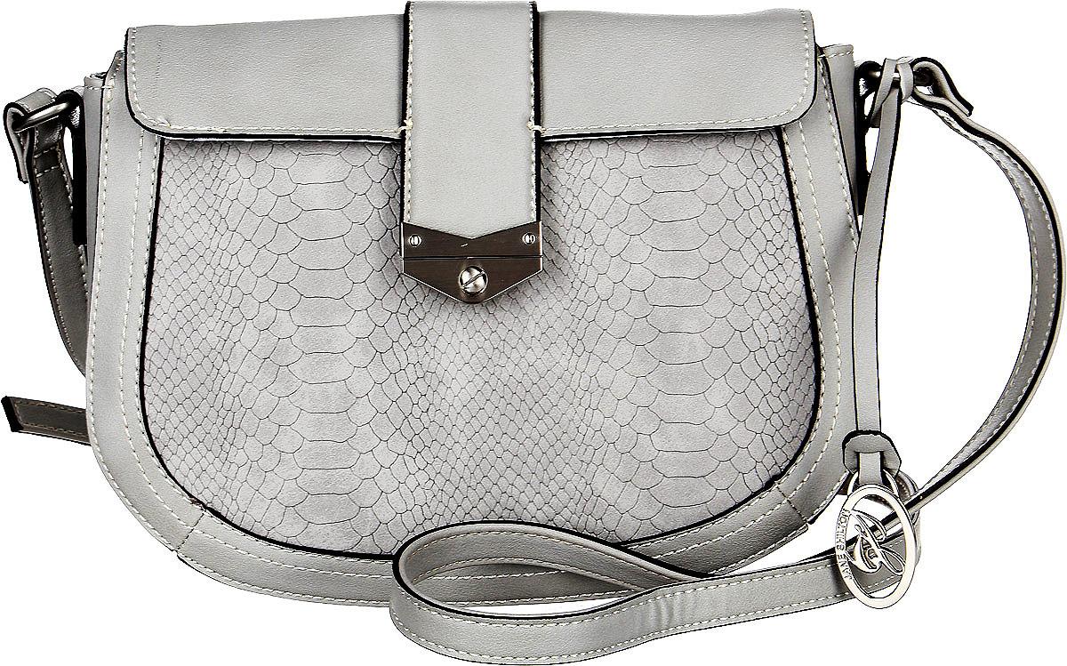 Сумка женская Jane Shilton, цвет: серый. 228771069с-2Эффектная сумочка Jane Shilton выполнена из искусственной кожи. У модели застежка-клапан на магните. Внутри кармашек на молнии и для мобильного телефона. Ремень регулируемый. Сзади карман на молнии.