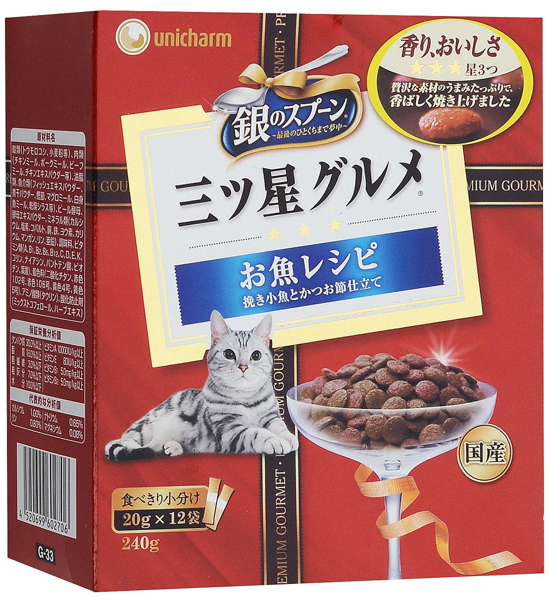 Корм сухой Unicharm Three-Star Silver Spoon для взрослых кошек, со скумбрией, 240 г602706Сухой корм для взрослых кошек Unicharm Three-Star Silver Spoon - это сбалансированное питание, которое содержит все питательные вещества, витамины и минералы, необходимые для здоровой и полноценной жизни кошки. Хрустящие маленькие крокеты из тунца, скумбрии и анчоусов имеют высокую вкусовую привлекательность и непременно понравятся вашему вашему питомцу. Корм содержит важную для здоровья кошек аминокислоту - таурин, который является профилактикой проблем зрения и поддерживает здоровое состояние сердца и репродуктивной деятельности животного. Ваша кошка высоко оценит такую новинку в своем рационе и будет искренне вам благодарна.Товар сертифицирован.