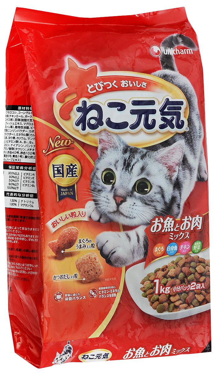 Корм сухой Unicharm Cat Genki для кошек, с тунцом, белой рыбой, курицей и овощами, 1 кг0120710Сухой корм для взрослых кошек Unicharm Cat Genki отличается разнообразием ингредиентов, богатых витаминами и минералами и полностью удовлетворяет энергетические и пищевые потребности взрослой кошки. Курица, основной ингредиент, представляет собой изысканный источник белка для развития крепких и здоровых мышц, а содержание тунца улучшает метаболизм. Корм специально разработан для укрепления основных защитных систем кошки - иммунной, пищеварительной, выделительной. содержание такого важного компонента, как таурин, предотвращает появление проблем зрения у кошки, защищает сердце и легкие. Корм служит профилактикой заболеваний мочевыводящих путей у кошек и поддерживает репродуктивную деятельность животного. Unicharm Cat Genki - это натуральное, вкусное и полезное питание для вашего питомца.Товар сертифицирован.