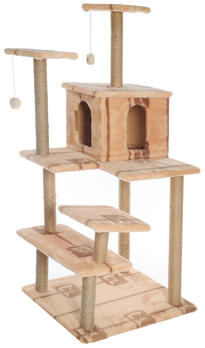 Игровой комплекс для кошек Меридиан Семейный, цвет: бежевый, коричневый, 70 х 65 х 150 см101246Игровой комплекс для кошек Меридиан Семейный выполнен из высококачественного ДВП и ДСП и обтянут искусственным мехом. Изделие предназначено для кошек. Ваш домашний питомец будет с удовольствием точить когти о специальные столбики, изготовленные из джута. А отдохнуть он сможет либо на полках, либо в домике. Сверху имеются 2 подвесные игрушки, которые привлекут внимание кошки к когтеточке.Общий размер: 70 х 65 х 150 см.Размер полок: 31 х 31 см, 26 х 26 см (2 полки), 59 х 24 см.Размер домика: 41 х 33 х 35 см.