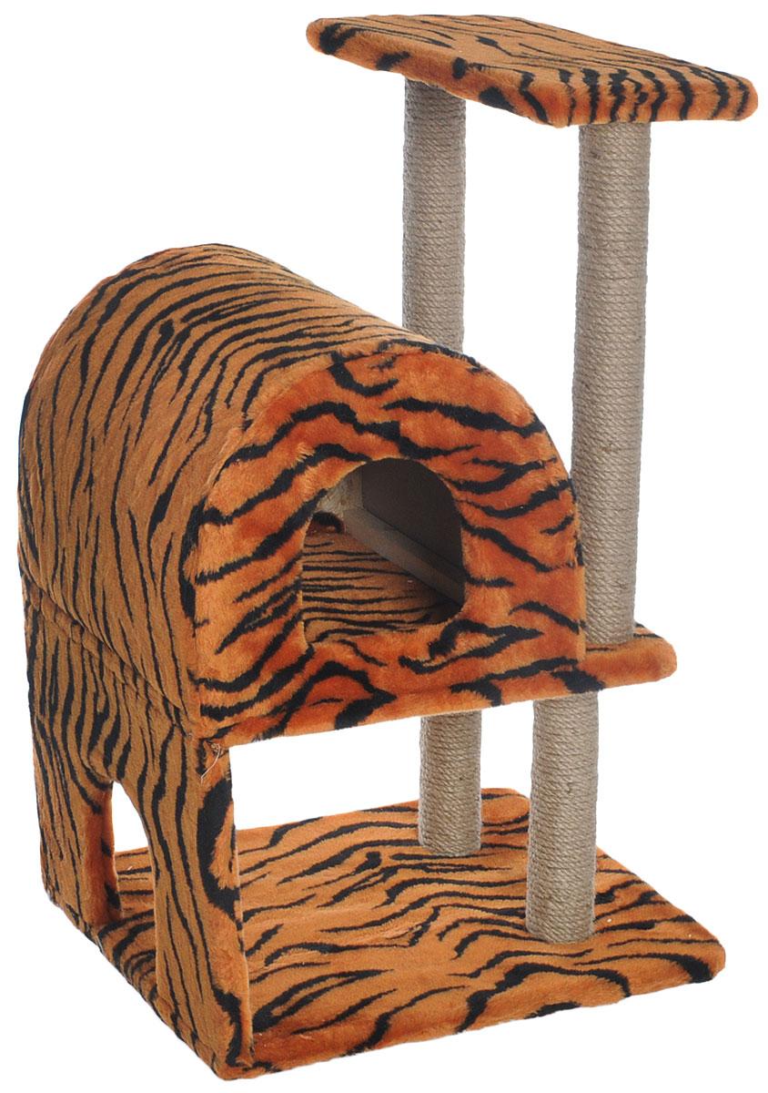 Домик-когтеточка Меридиан, полукруглый, двухэтажный, с полкой, цвет: оранжевый, черный, бежевый, 55 х 40 х 85 см0120710Домик-когтеточка Меридиан выполнен из высококачественного ДВП и ДСП и обтянут искусственным мехом. Изделие предназначено для кошек. Ваш домашний питомец будет с удовольствием точить когти о специальные столбики, изготовленные из джута. А отдохнуть он сможет либо на полке, либо в домике. Домик-когтеточка Меридиан принесет пользу не только вашему питомцу, но и вам, так как он сохранит мебель от когтей и шерсти.Общий размер: 55 х 40 х 85 см.Размер нижнего домика: 40 х 40 х 33 см.Размер полки: 40 х 25 см.