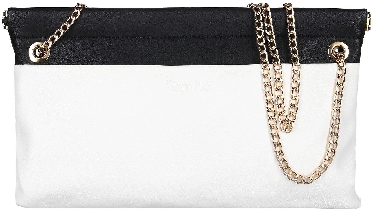 Клатч женский Vittorio Richi, цвет: белый, черный. 13626101248Клатч из экокожи с застежкой зажимом. Внутри текстильная подкладка , один карман на молнии, два открытых отделения для мелочей. Укомплектован наплечным ремнём цепочкой.