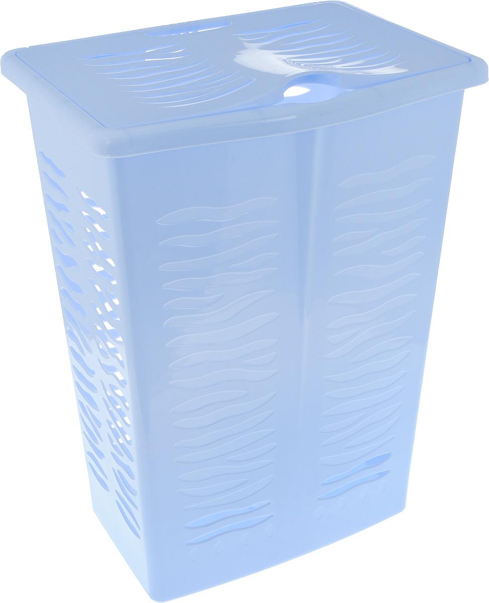 Корзина для белья BranQ Aqua, цвет: голубой, 42 л391602Корзина для белья BranQ Aqua изготовлена из прочного полипропилена и оформлена перфорированными отверстиями, благодаря которым обеспечивается естественная вентиляция. Корзина оснащена крышкой и ручкой для переноски. На крышке имеется выемка для удобного открывания крышки. Такая корзина для белья прекрасно впишется в интерьер ванной комнаты..Размер корзины: 30 х 39,5 х 53 см, Объем: 42 л.