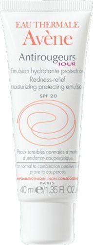 Avene Эмульсия от покраснений Anti-rougeurs для лица 40 млAC-2233_серыйДля кожи с локальными и/или диффузными покраснениями, чувствительной к перепадам высоких и низких температур.Свойства: Эмульсия Антиружер увлажняет и защищаеткожу в течение дня, предотвращаяи уменьшая покраснения кожи. • Экстракт рускуса улучшает микроциркуляцию кожи, за счет чего уменьшаются диффузные покраснения кожи, и снижается вероятность появления новых покраснений. • Обогащенная Термальной водой Avene с успокаивающими и снимающими раздражение свойствами, эмульсиябыстро успокаивает кожу, снимая ощущение жара и дискомфорта.• Наличие солнцезащитного фактора SPF 20 позволяет уменьшить ежедневное агрессивное воздействие лучей UVA и UVB,повреждающих капилляры кожи. • Эмульсияс нежной и легкой текстурой быстро впитывается, делая кожу мягкой, увлажненной и матовой.*Увлажнение верхних слоев кожи.