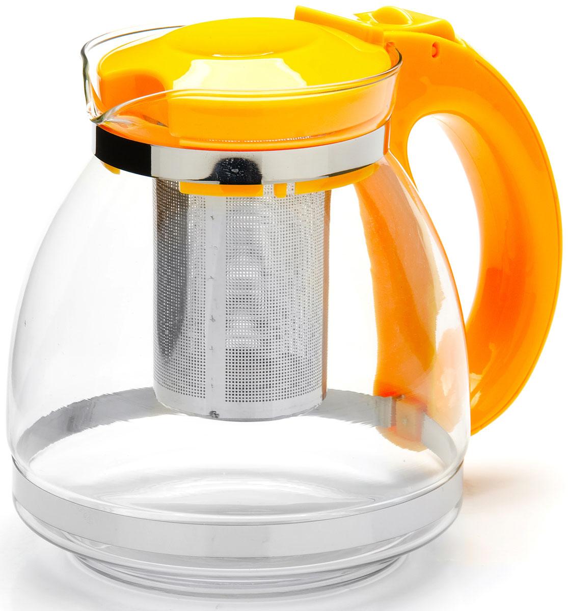 Чайник заварочный Mayer & Boch, с фильтром, цвет: желтый, 1,5 л. 26170-254 009312Заварочный чайник Mayer & Boch изготовлен из термостойкого боросиликатного стекла, фильтр выполнен из нержавеющей стали. Изделия из стекла не впитывают запахи, благодаря чему вы всегда получите натуральный, насыщенный вкус и аромат напитков. Заварочный чайник из стекла удобно использовать для повседневного заваривания чая практически любого сорта. Но цветочные, фруктовые, красные и желтые сорта чая лучше других раскрывают свой вкус и аромат при заваривании именно в стеклянных чайниках, а также сохраняют все полезные ферменты и витамины, содержащиеся в чайных листах. Стальной фильтр гарантирует прозрачность и чистоту напитка от чайных листьев, при этом сохранив букет и насыщенность чая.Прозрачные стенки чайника дают возможность насладиться насыщенным цветом заваренного чая. Изящный заварочный чайник Mayer & Boch будет прекрасно смотреться в любом интерьере. Подходит для мытья в посудомоечной машине.