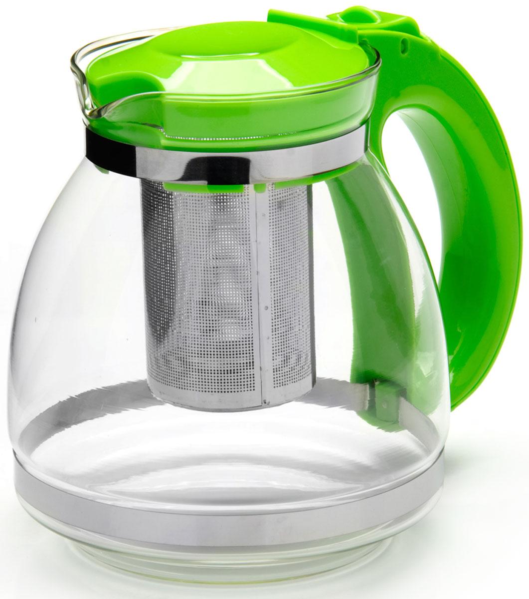 Чайник заварочный Mayer & Boch, с фильтром, цвет: зеленый, 1,5 л. 26170-3391602Заварочный чайник Mayer & Boch изготовлен из термостойкого боросиликатного стекла, фильтр выполнен из нержавеющей стали. Изделия из стекла не впитывают запахи, благодаря чему вы всегда получите натуральный, насыщенный вкус и аромат напитков. Заварочный чайник из стекла удобно использовать для повседневного заваривания чая практически любого сорта. Но цветочные, фруктовые, красные и желтые сорта чая лучше других раскрывают свой вкус и аромат при заваривании именно в стеклянных чайниках, а также сохраняют все полезные ферменты и витамины, содержащиеся в чайных листах. Стальной фильтр гарантирует прозрачность и чистоту напитка от чайных листьев, при этом сохранив букет и насыщенность чая.Прозрачные стенки чайника дают возможность насладиться насыщенным цветом заваренного чая. Изящный заварочный чайник Mayer & Boch будет прекрасно смотреться в любом интерьере. Подходит для мытья в посудомоечной машине.