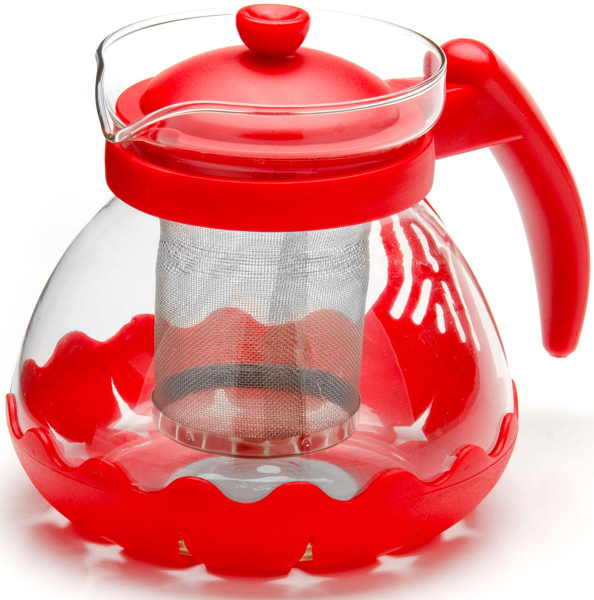 Чайник заварочный Mayer & Boch, с фильтром, цвет: красный, 700 мл. 26173-168/5/4Заварочный чайник Mayer & Boch изготовлен из термостойкого боросиликатного стекла, фильтр выполнен из нержавеющей стали. Изделия из стекла не впитывают запахи, благодаря чему вы всегда получите натуральный, насыщенный вкус и аромат напитков. Заварочный чайник из стекла удобно использовать для повседневного заваривания чая практически любого сорта. Но цветочные, фруктовые, красные и желтые сорта чая лучше других раскрывают свой вкус и аромат при заваривании именно в стеклянных чайниках, а также сохраняют все полезные ферменты и витамины, содержащиеся в чайных листах. Стальной фильтр гарантирует прозрачность и чистоту напитка от чайных листьев, при этом сохранив букет и насыщенность чая.Прозрачные стенки чайника дают возможность насладиться насыщенным цветом заваренного чая. Изящный заварочный чайник Mayer & Boch будет прекрасно смотреться в любом интерьере. Подходит для мытья в посудомоечной машине.