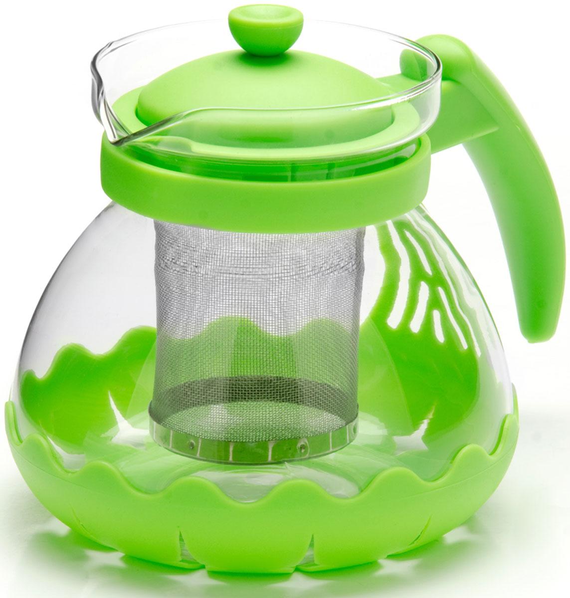 Чайник заварочный Mayer & Boch, с фильтром, цвет: зеленый, 700 мл. 26173-3391602Заварочный чайник Mayer & Boch изготовлен из термостойкого боросиликатного стекла, фильтр выполнен из нержавеющей стали. Изделия из стекла не впитывают запахи, благодаря чему вы всегда получите натуральный, насыщенный вкус и аромат напитков. Заварочный чайник из стекла удобно использовать для повседневного заваривания чая практически любого сорта. Но цветочные, фруктовые, красные и желтые сорта чая лучше других раскрывают свой вкус и аромат при заваривании именно в стеклянных чайниках, а также сохраняют все полезные ферменты и витамины, содержащиеся в чайных листах. Стальной фильтр гарантирует прозрачность и чистоту напитка от чайных листьев, при этом сохранив букет и насыщенность чая.Прозрачные стенки чайника дают возможность насладиться насыщенным цветом заваренного чая. Изящный заварочный чайник Mayer & Boch будет прекрасно смотреться в любом интерьере. Подходит для мытья в посудомоечной машине.