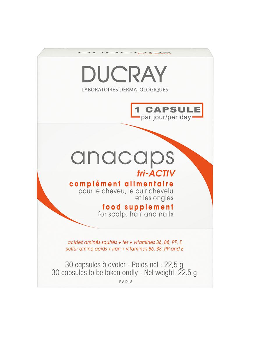 Ducray Anacaps Tri Activ Капсулы для роста волос и ногтей N30FS-00103Anacaps tri-Activ (Анакапс три-Актив) питает и укрепляет волосы, борется с проблемой выпадения волос, стимулирует их рост.Оригинальная формула Anacaps tri-Activ снабжает витаминами волосяные фолликулы и помогает поддерживать здоровье волос. Витамины B8 и B6 способствуют синтезу цистеина. Витамины B3, B6 и железо способствуют снижению усталости. Витамин Е защищает клетки от вредных воздействий окружающей среды. СОСТАВ НА 1 КАПСУЛУ (в скобках указан % от суточной потребности):масло энотеры (примулы вечерней) 242,208 мг, метионин 125 мг, цистин 125 мг, железо 14 мг (100%), витамин В3 16 мг (89%),витамин Е 12 мг (120%), лецитин подсолнечника8,852 мг, Витамин В6 1,4 мг (70%), витамин В8 50 мкг (100%), воск пчелиный 8 мг.ОБОЛОЧКА КАПСУЛЫ:рыбий желатин, глицерин, ароматическая композиция, оксид железа черный (Е172), оксид железа красный (Е172), диоксид титана (Е171). Энергетическая ценность (на 1 капсулу): 4,5 кКал (18,84 кДж).