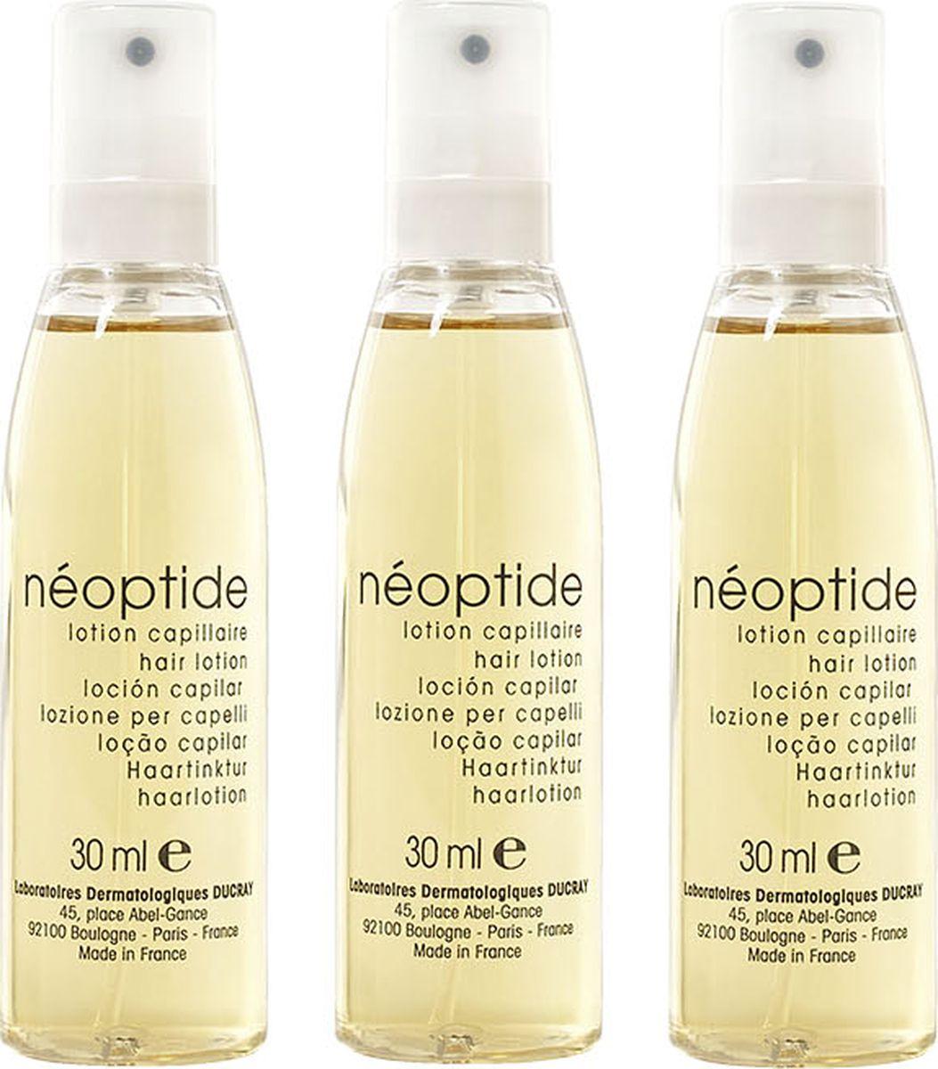 Ducray Лосьон Neoptide от выпадения волос 3 х 30 мл19018Стимулирующий лосьон Neoptide (Неоптид) целенаправленно воздействует на фазу роста волоса у женщин. ТЕТРАПЕПТИД, ЭКСТРАКТ РУСКУСА НИКОТИНАМИД и МОЛЕКУЛА GP4G эффективно останавливают выпадение волос и стимулируют рост новых за счёт улучшения обменных процессов в волосяной луковице. Легкая текстура отлично подходит для ежедневного использования, так как не склеивает и не утяжеляет волосы. Продукт не требует смывания.